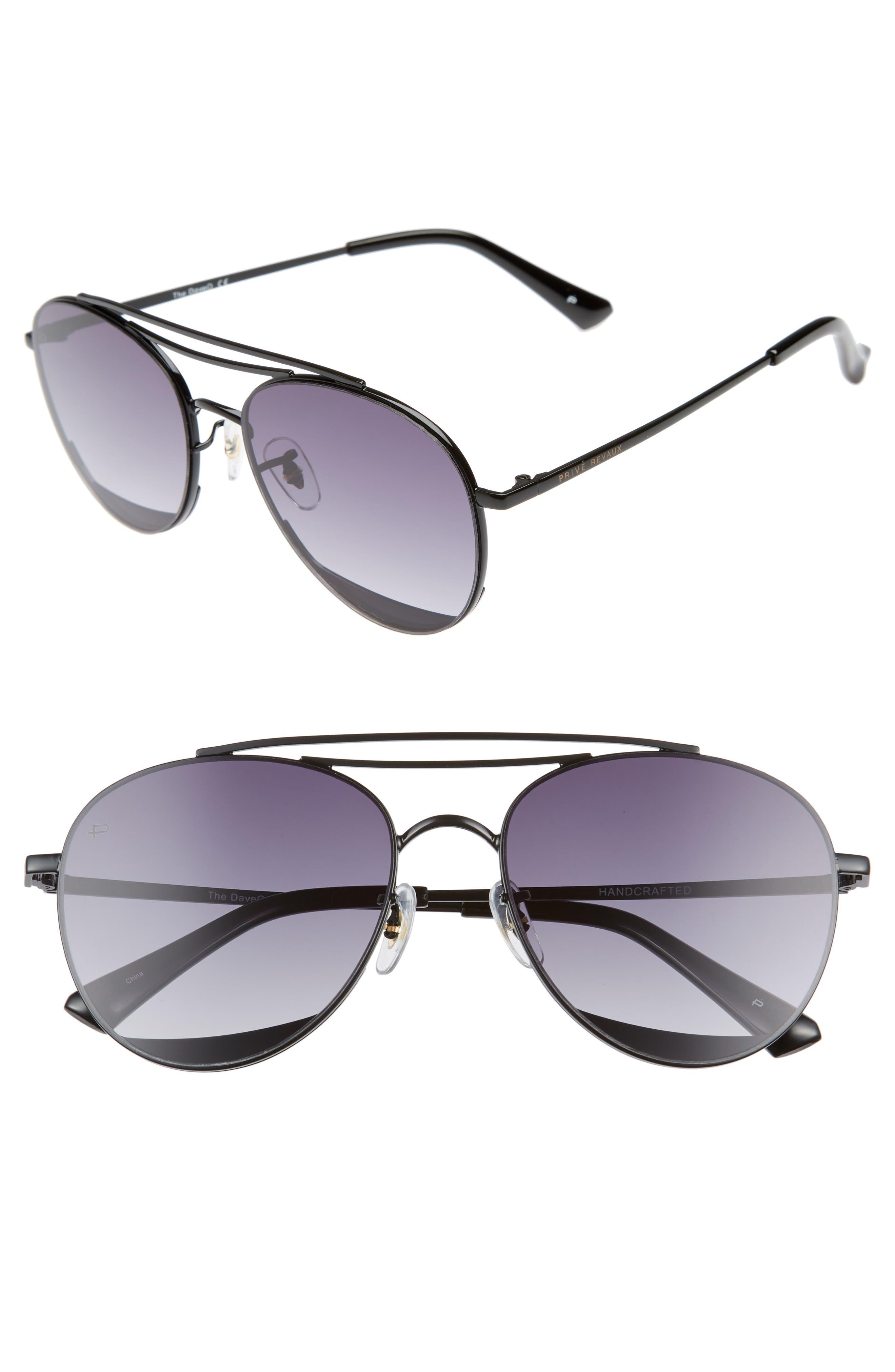 Privé Revaux The Dave O 57mm Aviator Sunglasses,                             Main thumbnail 1, color,                             Black/ Purple