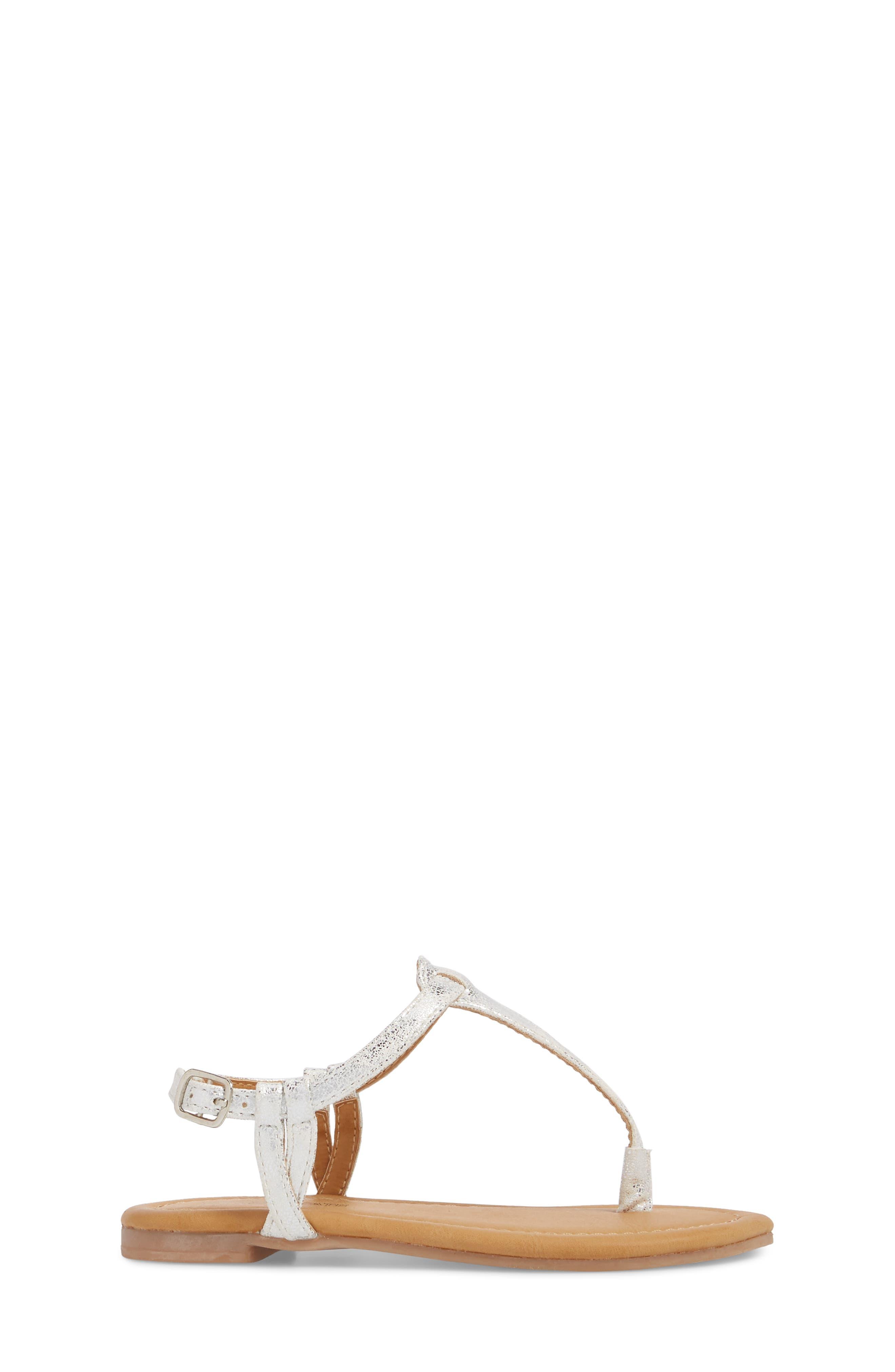 Lizzie Sandal,                             Alternate thumbnail 3, color,                             White/ Silver Faux Leather