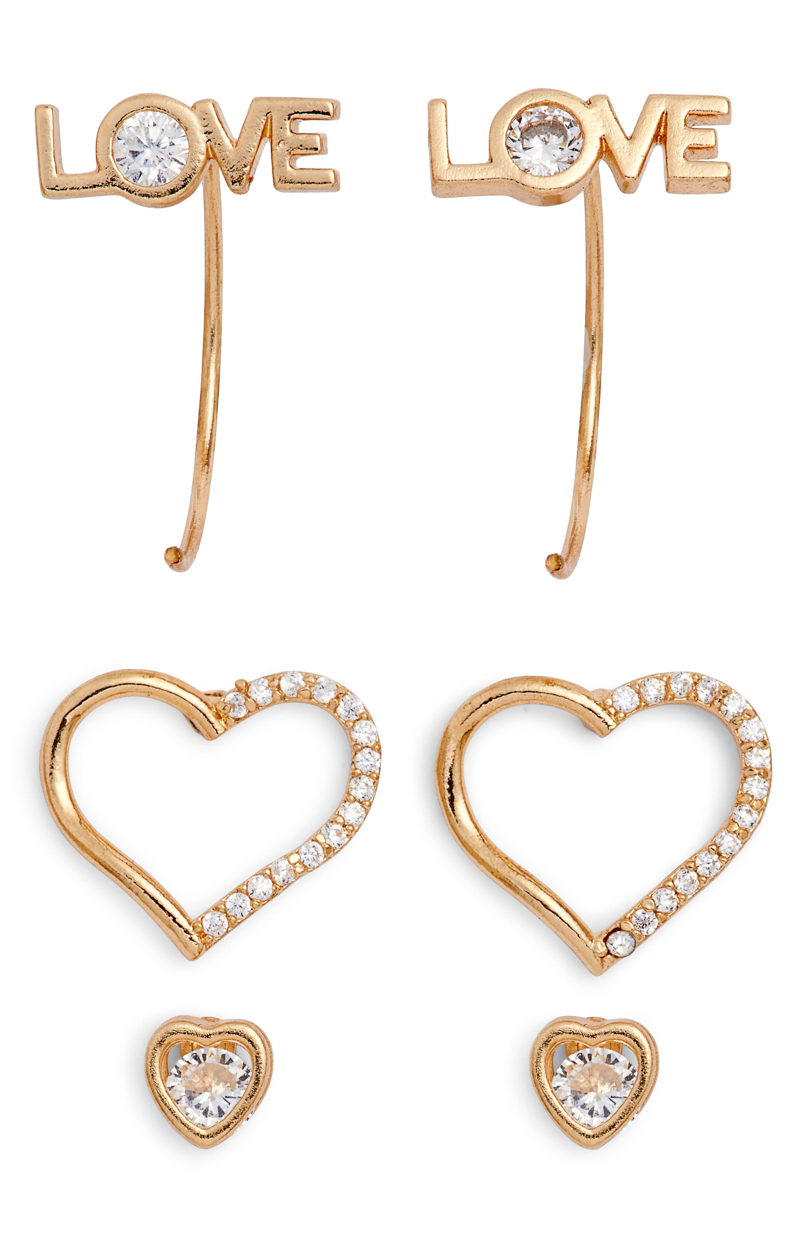 Love 3-Pack Assorted Earrings,                             Main thumbnail 1, color,                             Gold