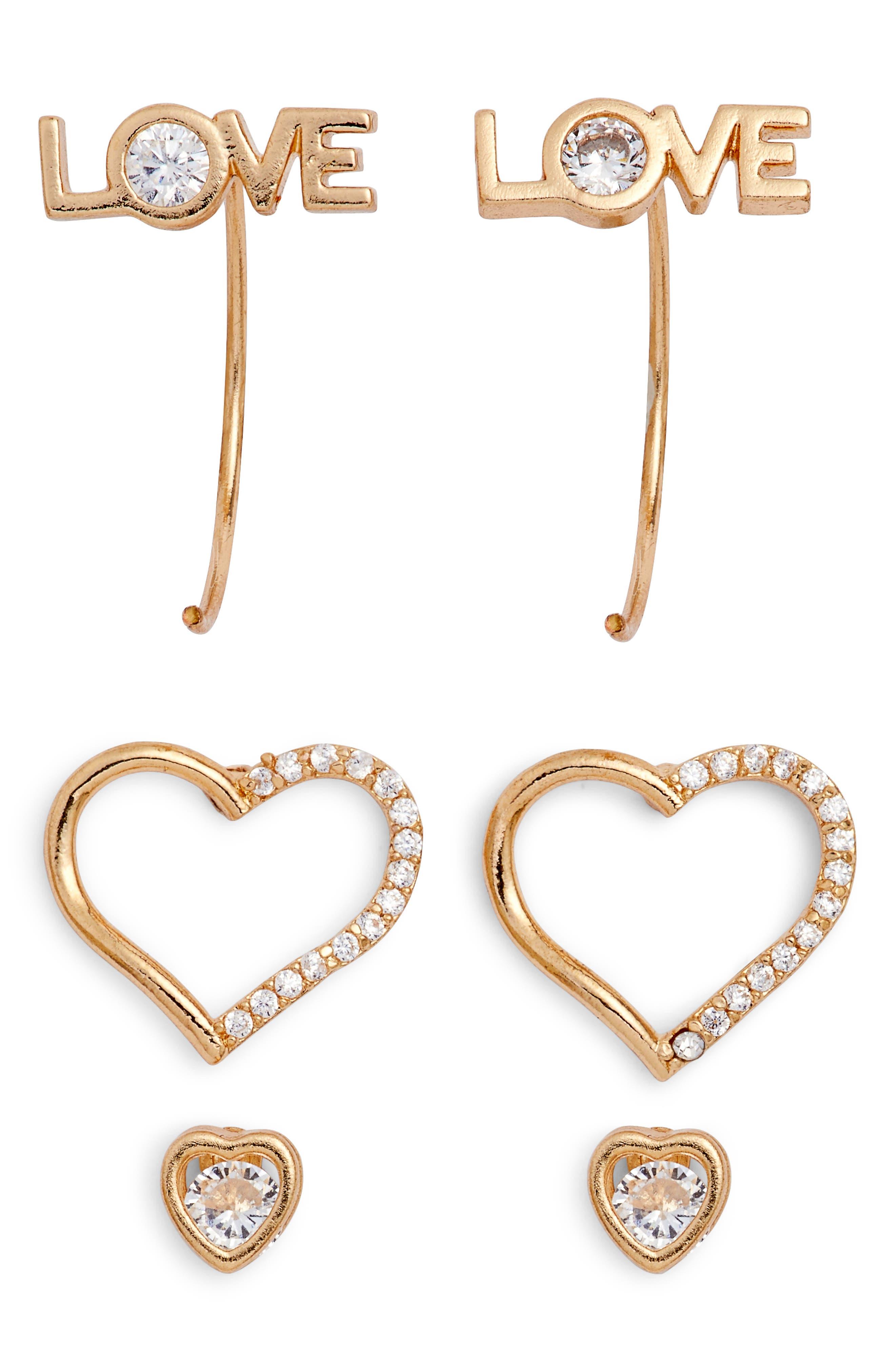 Loren Olivia Love 3-Pack Assorted Earrings