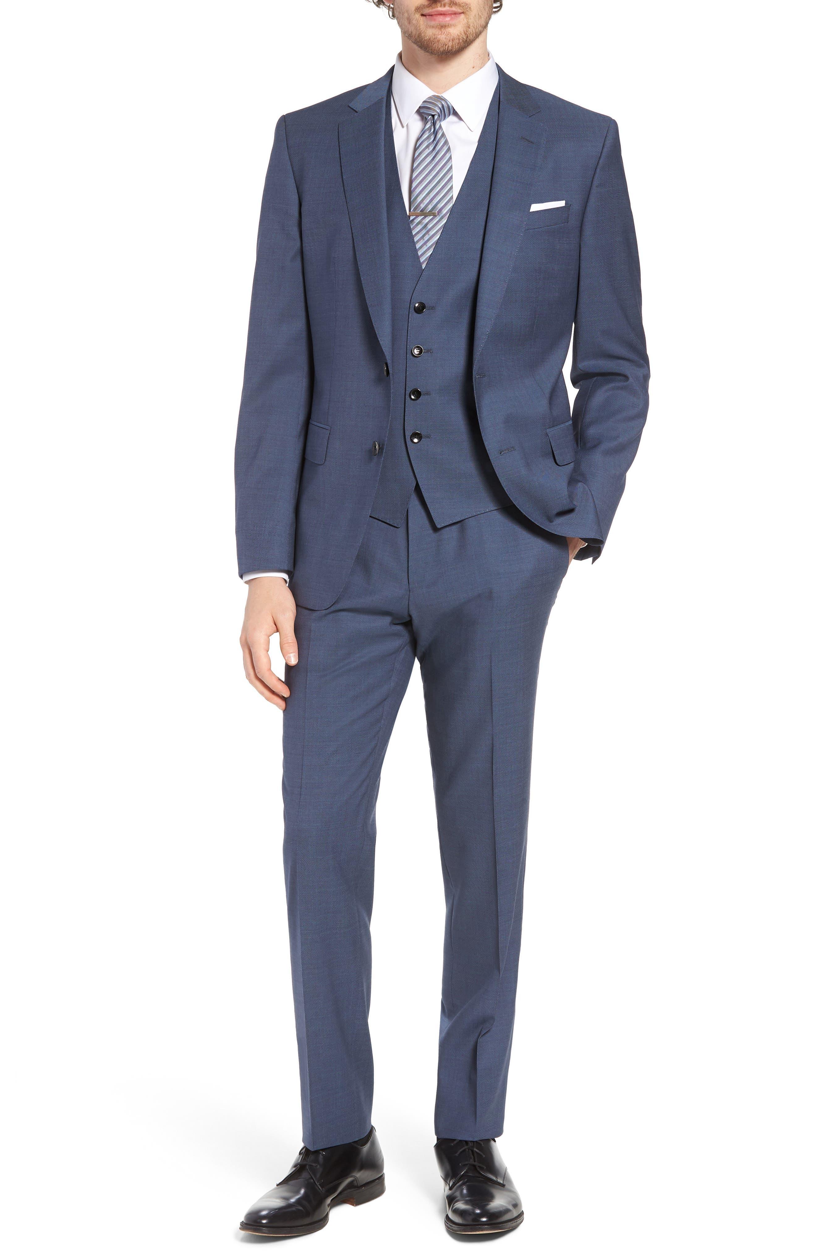 BOSS Huge/Genius Trim Fit Three-Piece Solid Wool Suit