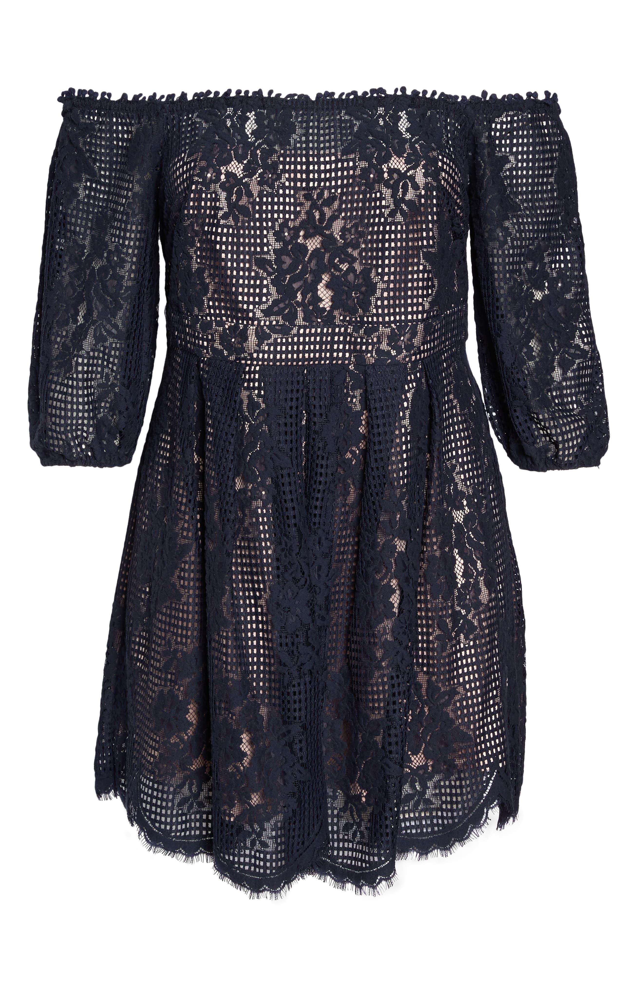 Floral Lace Off the Shoulder Dress,                             Alternate thumbnail 6, color,                             Navy Sapphire