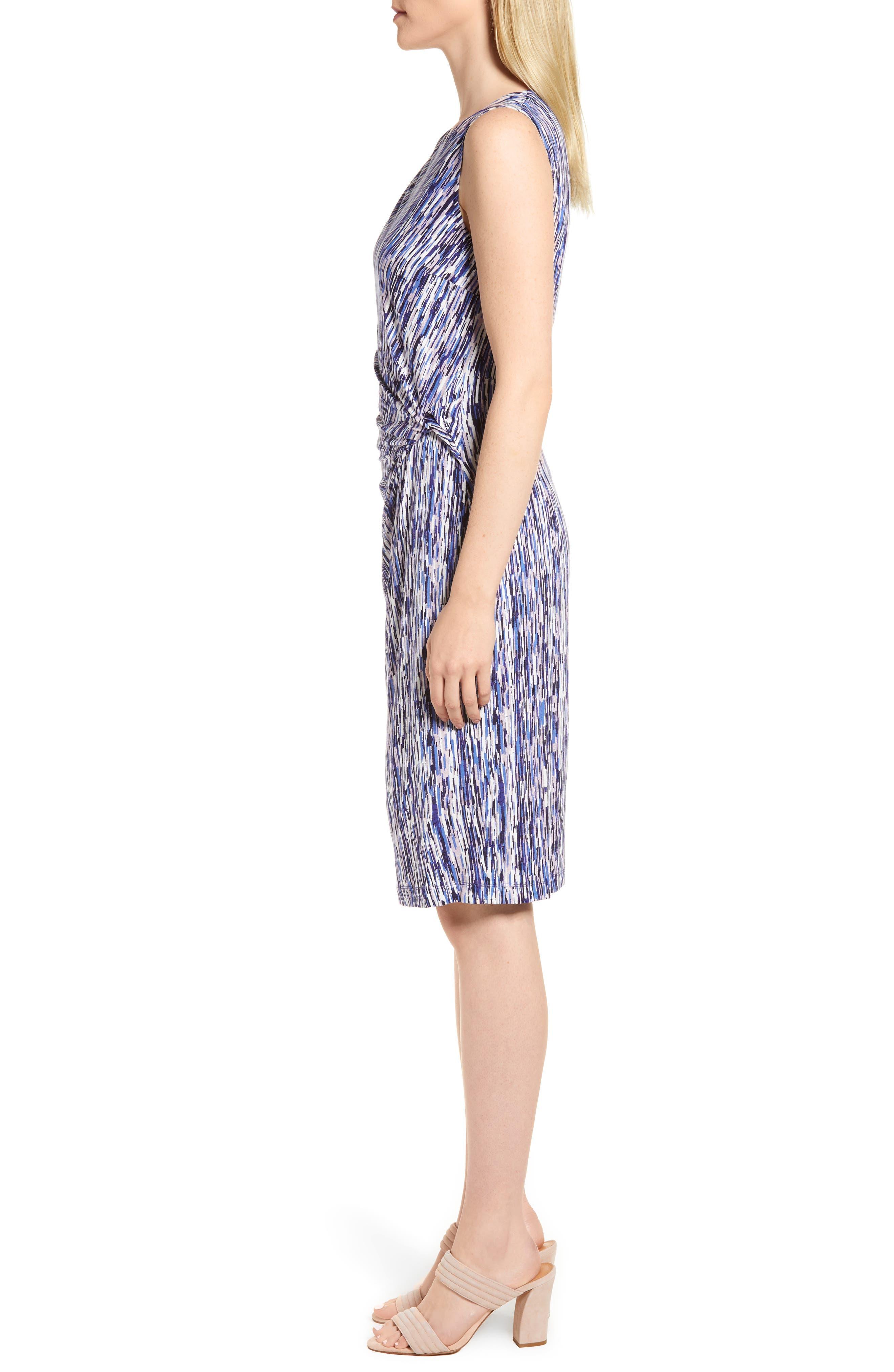 Sapphire Stripe Side Twist Dress,                             Alternate thumbnail 3, color,                             Multi
