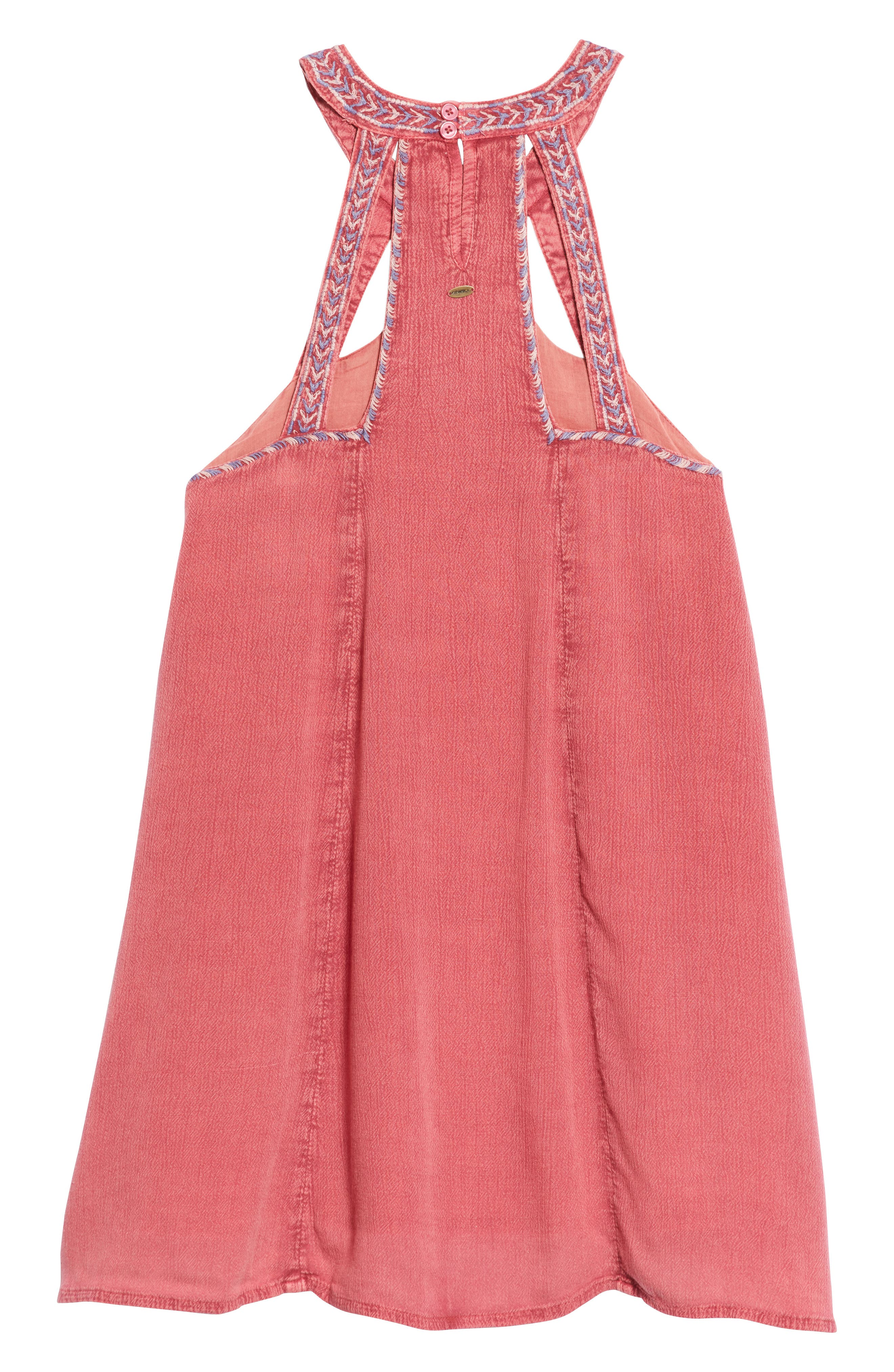 Leighton Embroidered Swing Dress,                             Alternate thumbnail 2, color,                             Magenta Haze