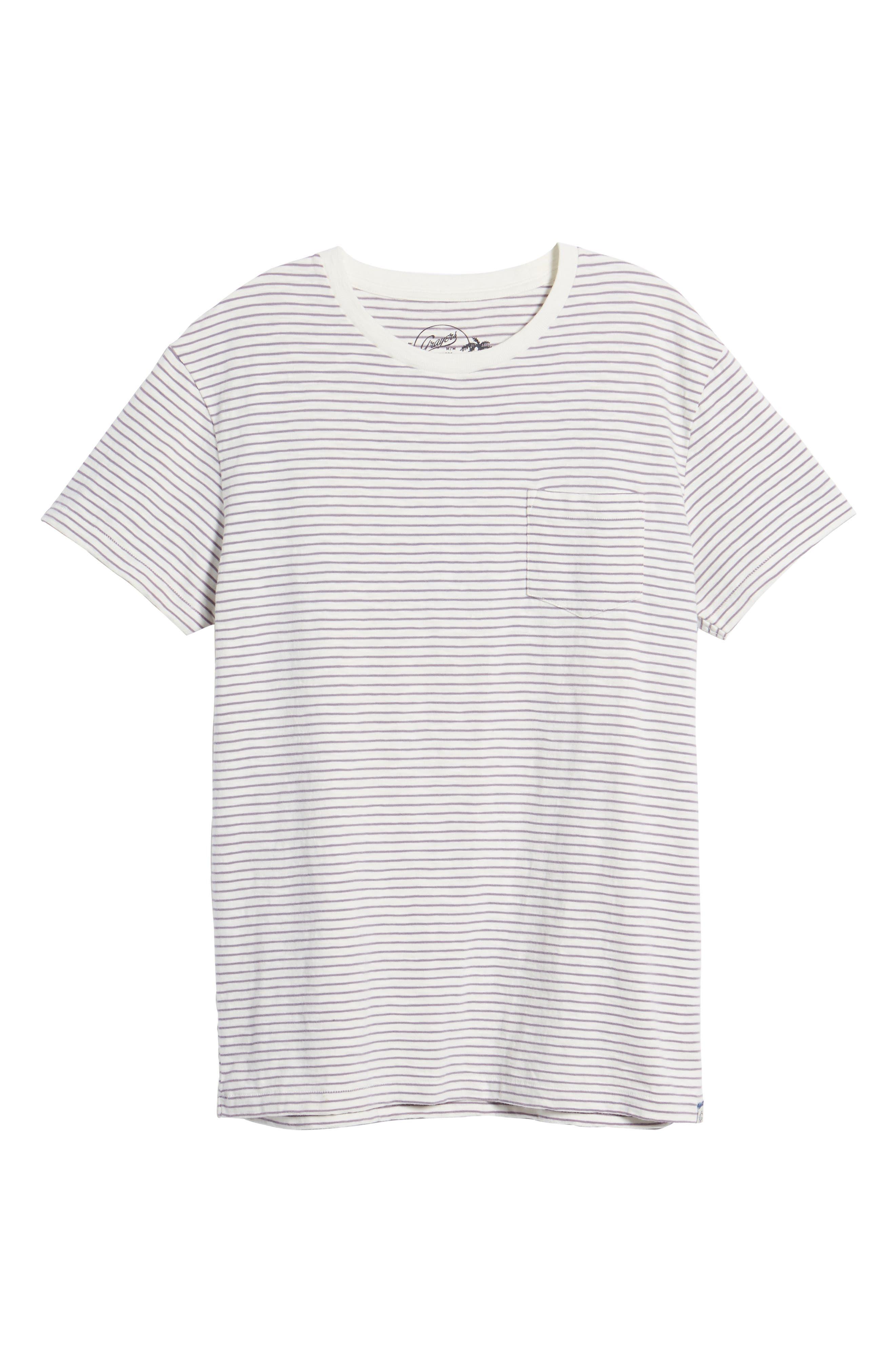 Malaga Cove Stripe T-Shirt,                             Alternate thumbnail 6, color,                             Antique White