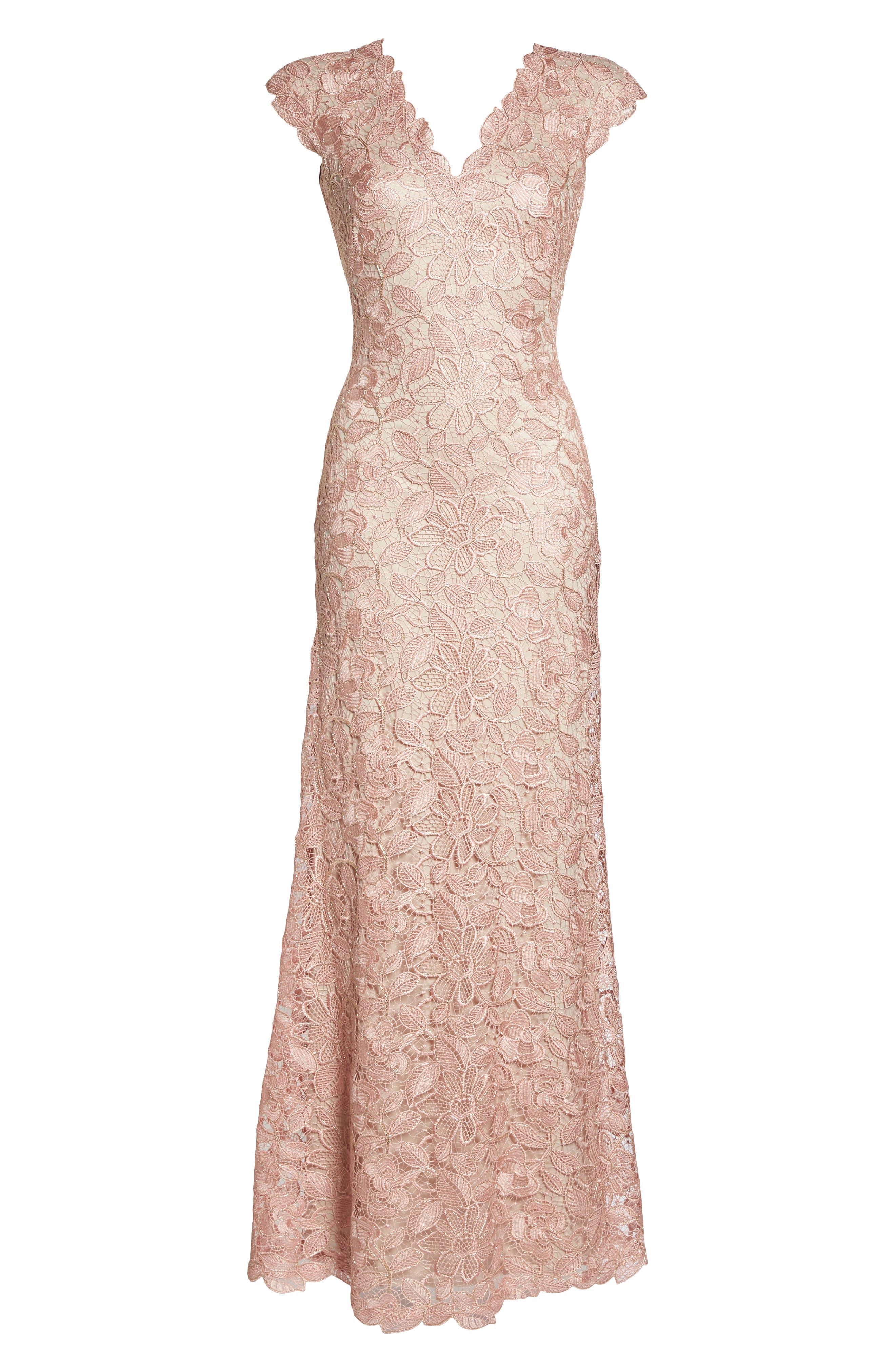 Frankie Lace Gown,                             Alternate thumbnail 6, color,                             Petal/ Gold