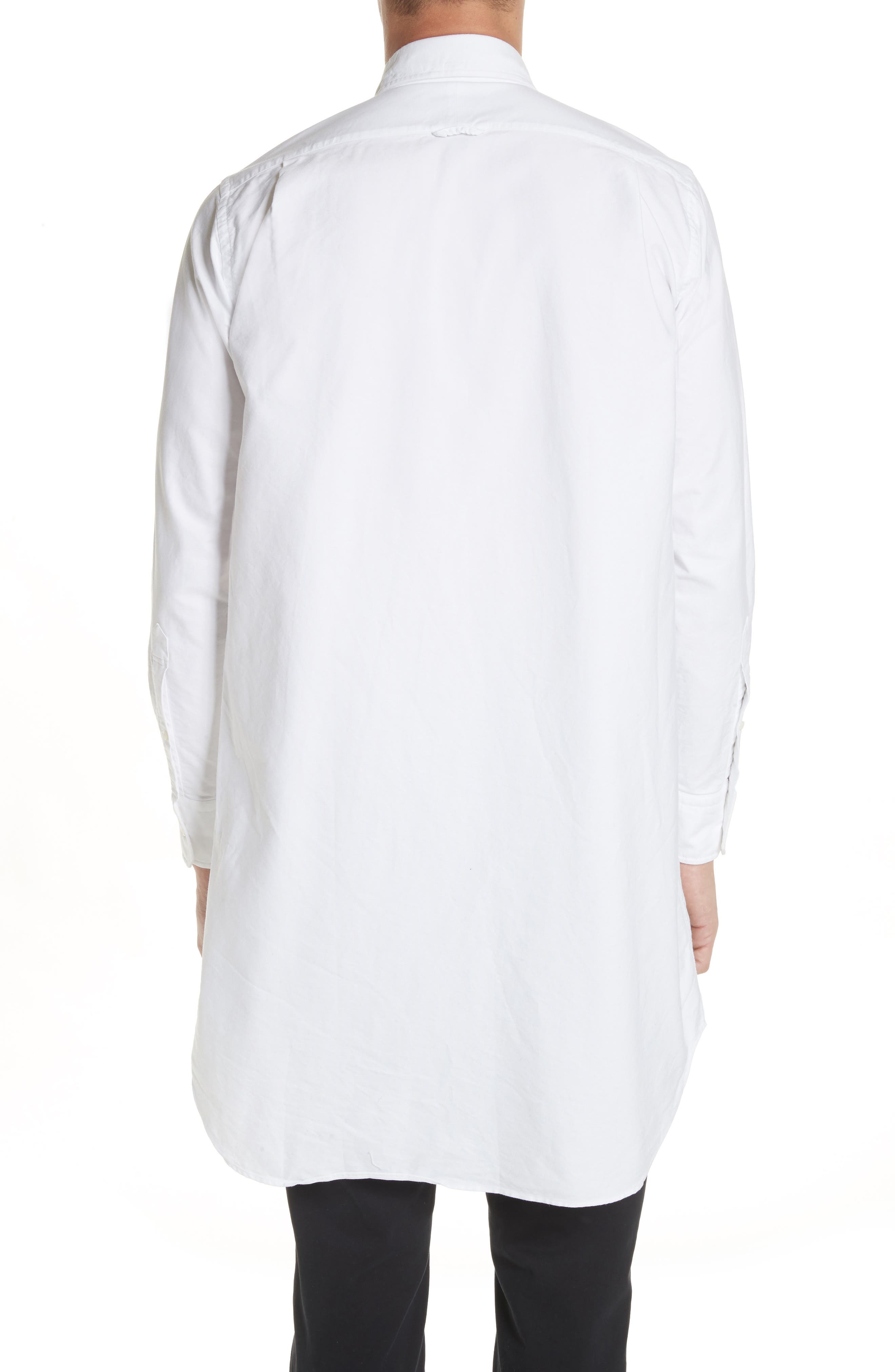 Elongated Woven Shirt,                             Alternate thumbnail 3, color,                             White
