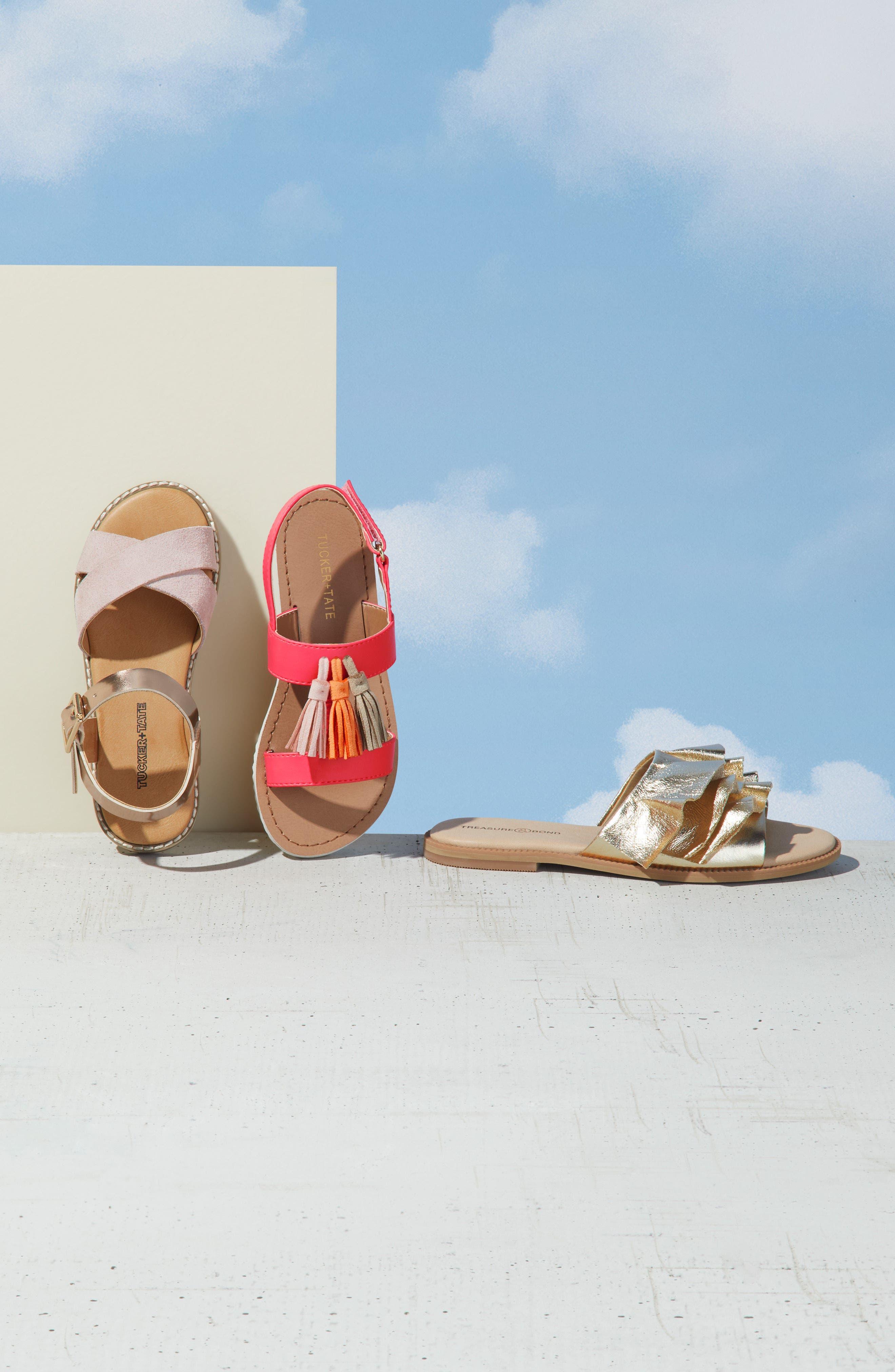 Arya Cross Strap Sandal,                             Alternate thumbnail 2, color,                             Rose Gold Faux Lea
