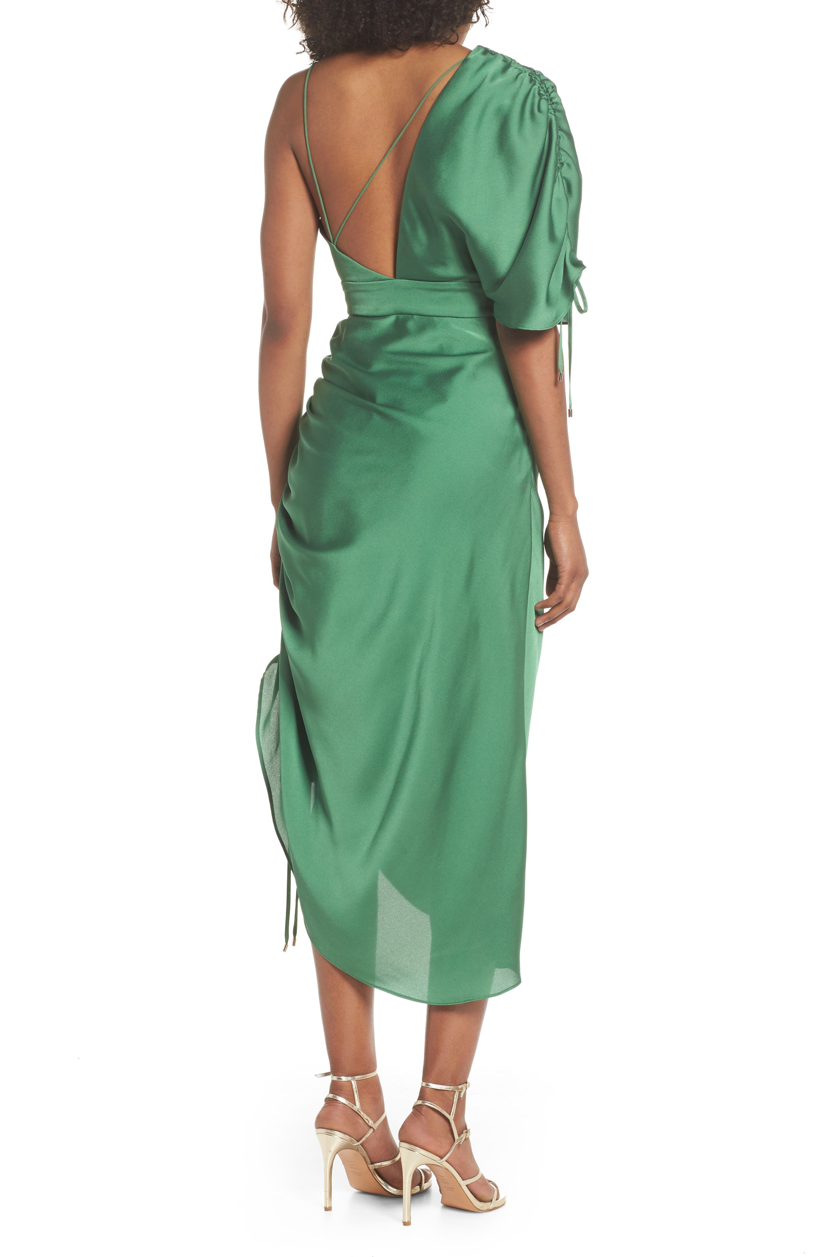 I've Got You Asymmetrical Satin Dress,                             Alternate thumbnail 2, color,                             Emerald Green