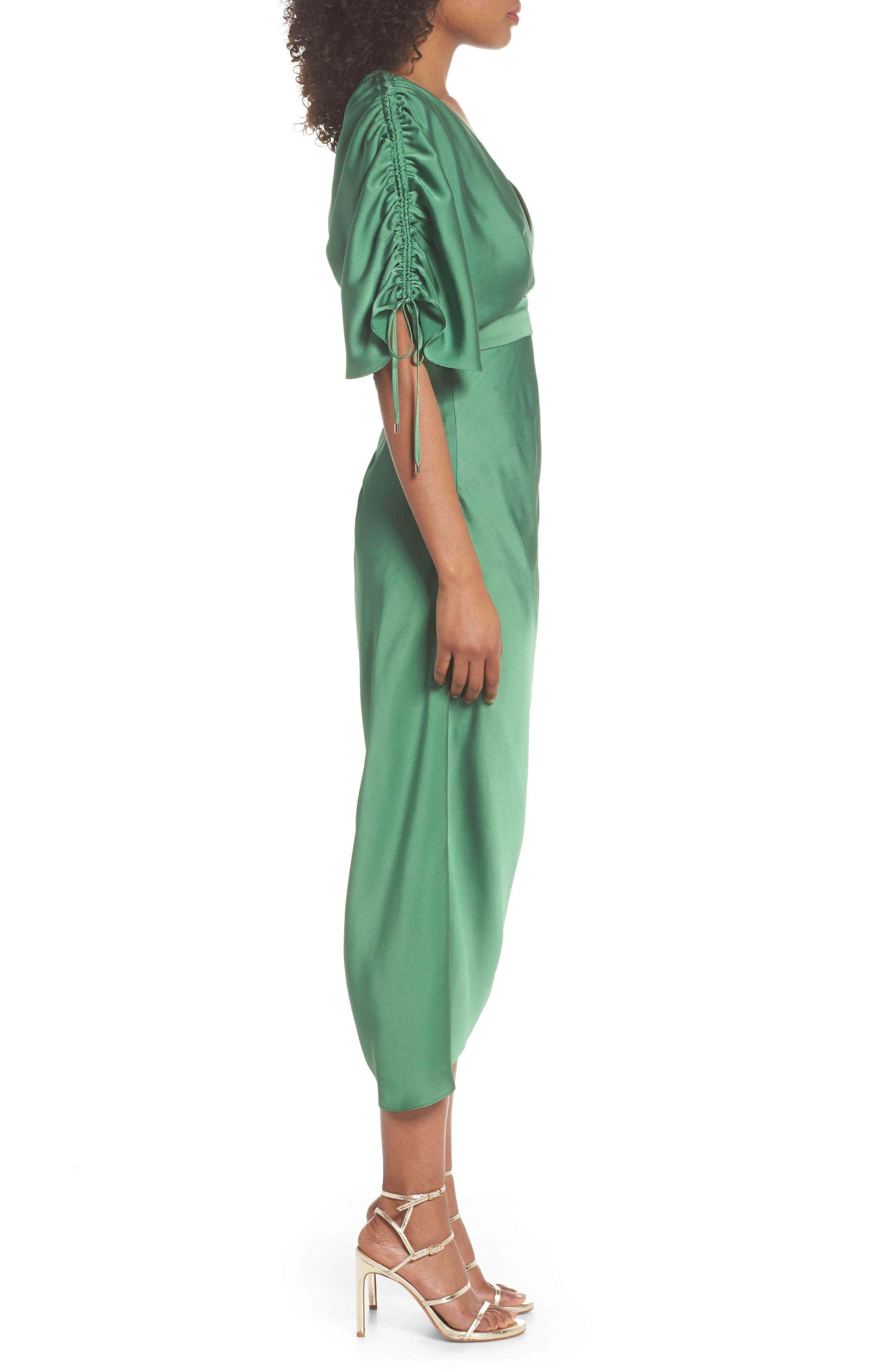 I've Got You Asymmetrical Satin Dress,                             Alternate thumbnail 3, color,                             Emerald Green