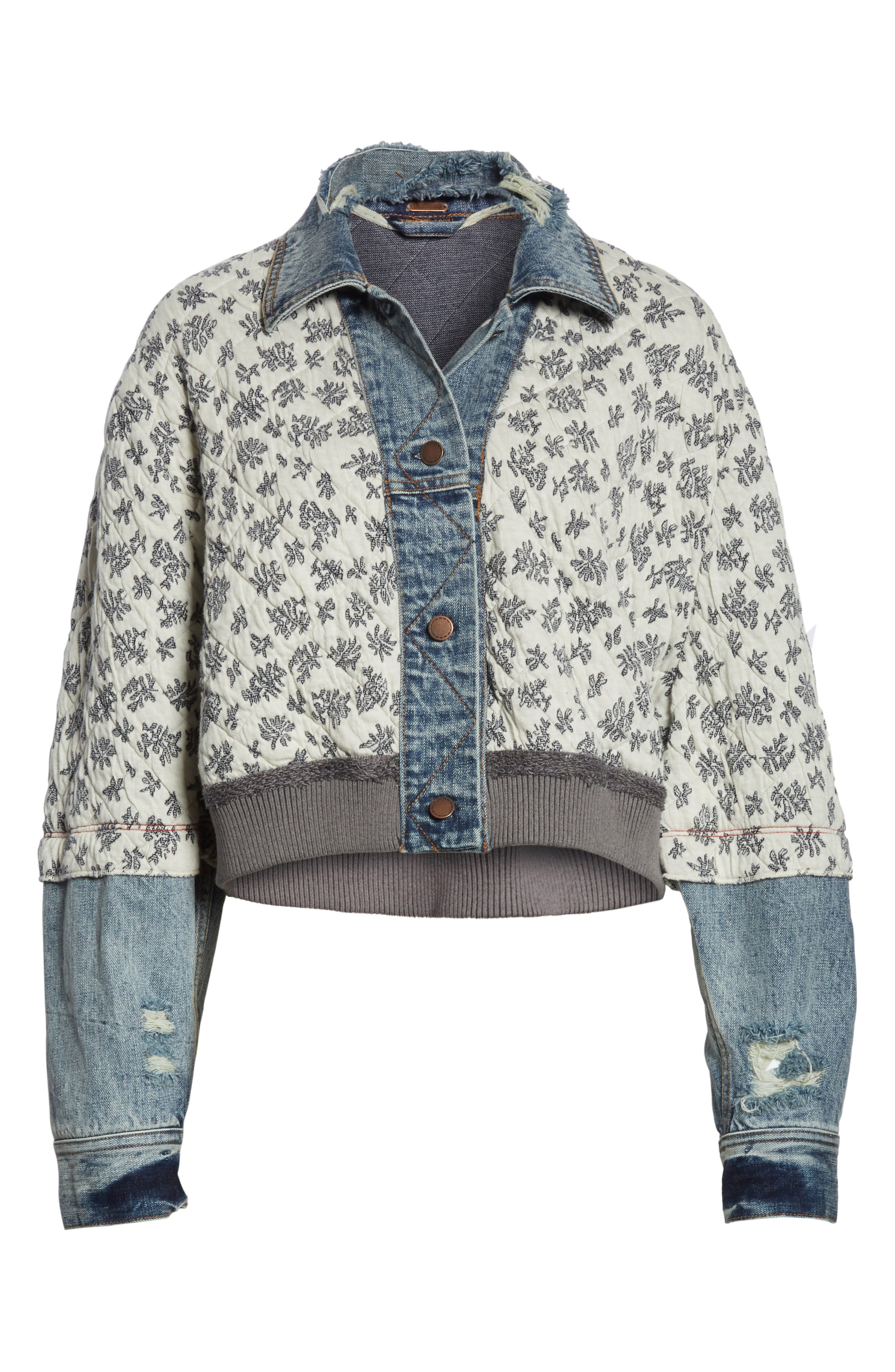 Ditsy Denim Jacket,                             Alternate thumbnail 6, color,                             Blue