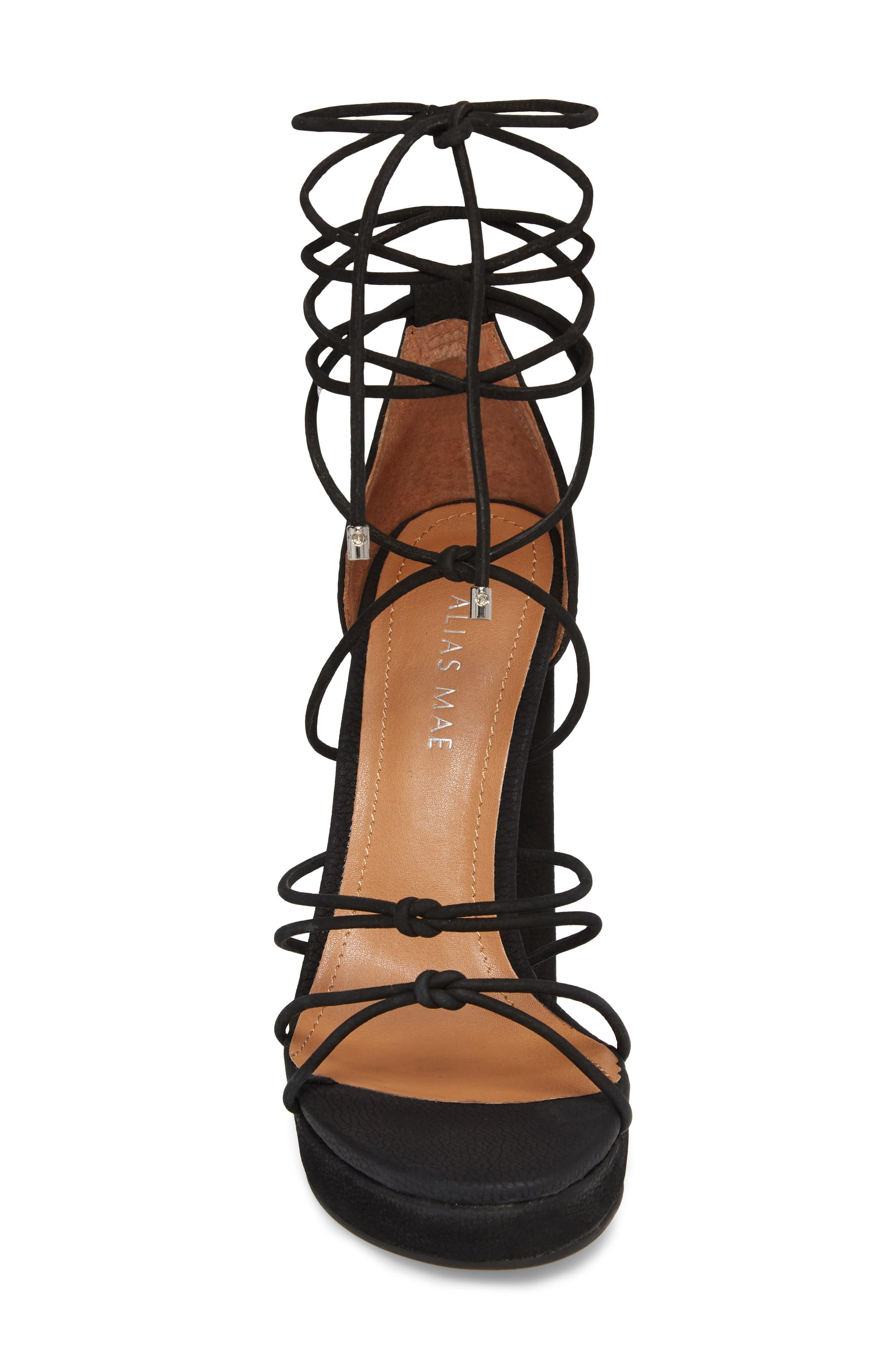 Bordega Ankle Wrap Sandal,                             Alternate thumbnail 4, color,                             Black Leather