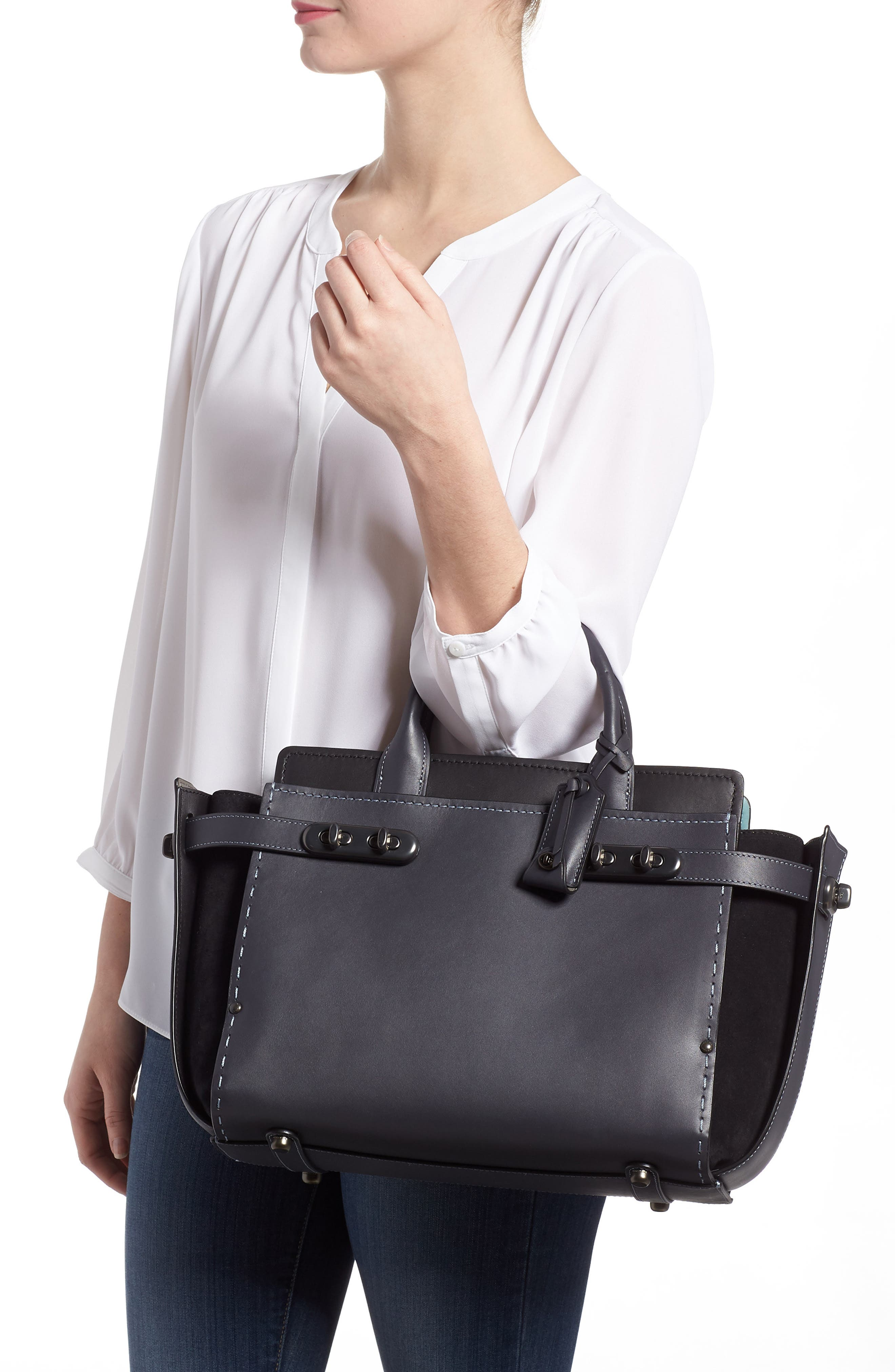Double Swagger Leather Satchel,                             Alternate thumbnail 2, color,                             Navy