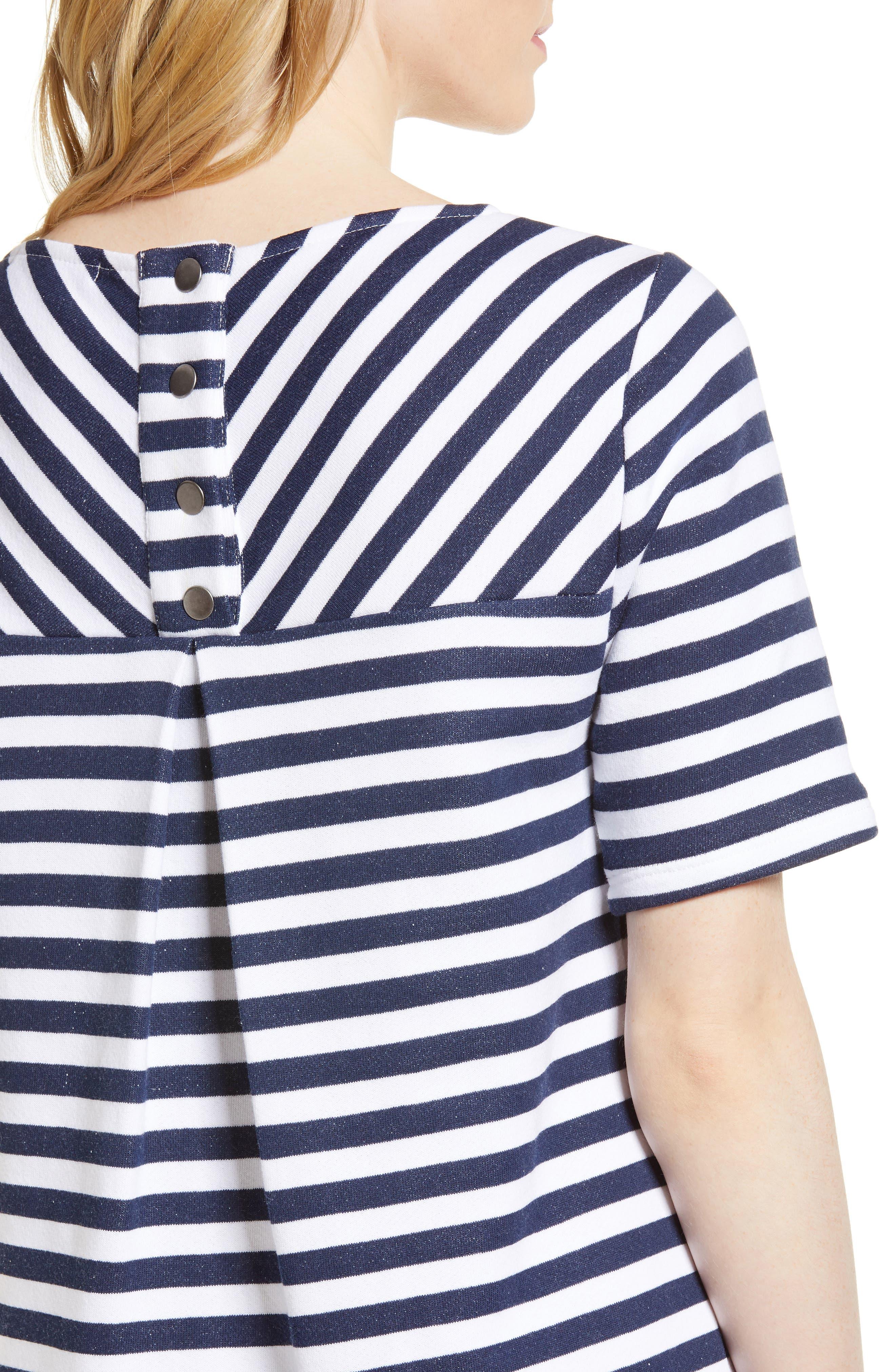 Pleat Back Minidress,                             Alternate thumbnail 4, color,                             Navy/ Ivory Stripe