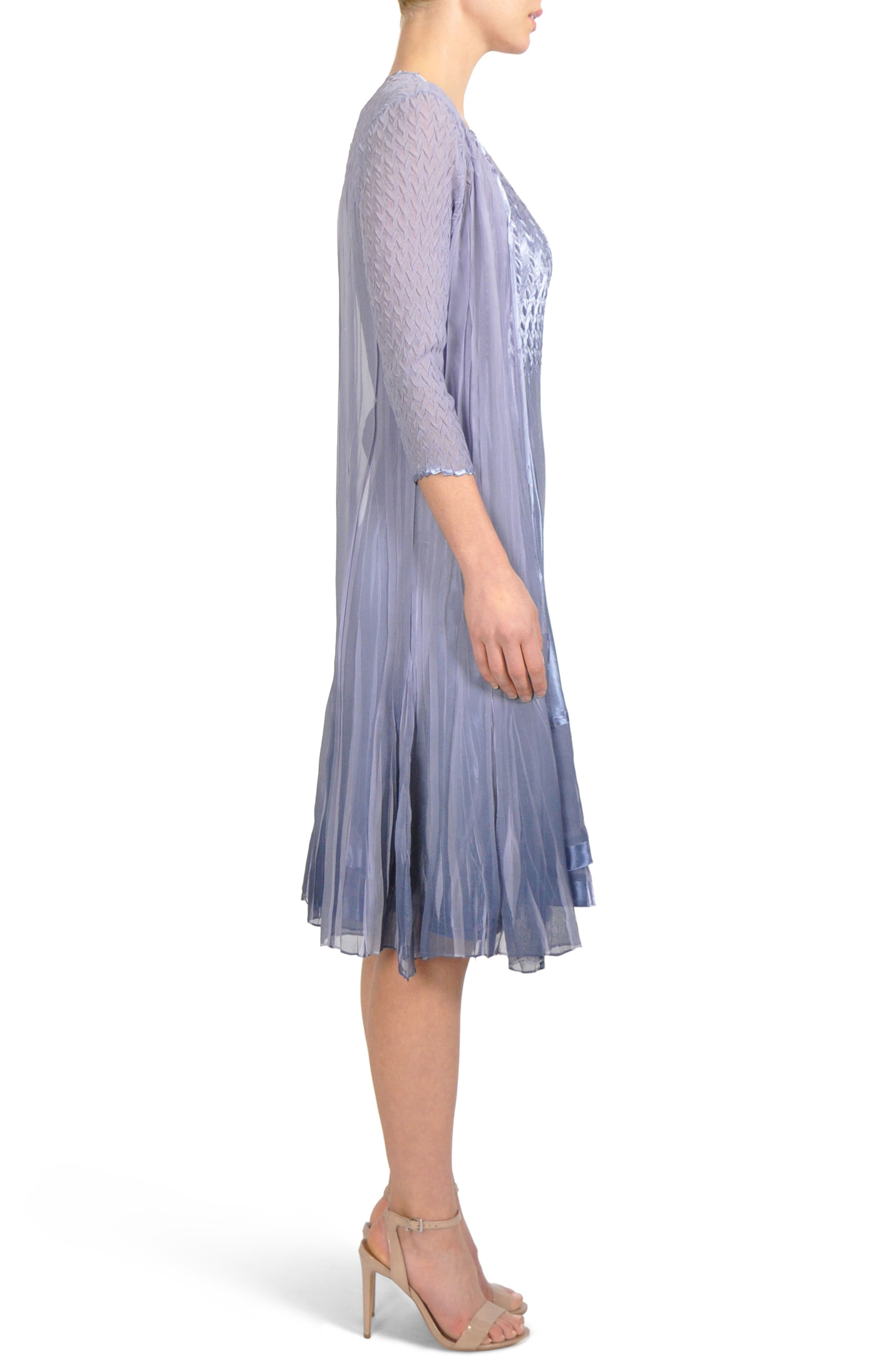 Charmeuse & Chiffon Midi Dress with Jacket,                             Alternate thumbnail 5, color,                             Lavendar Grey Blue Ombre