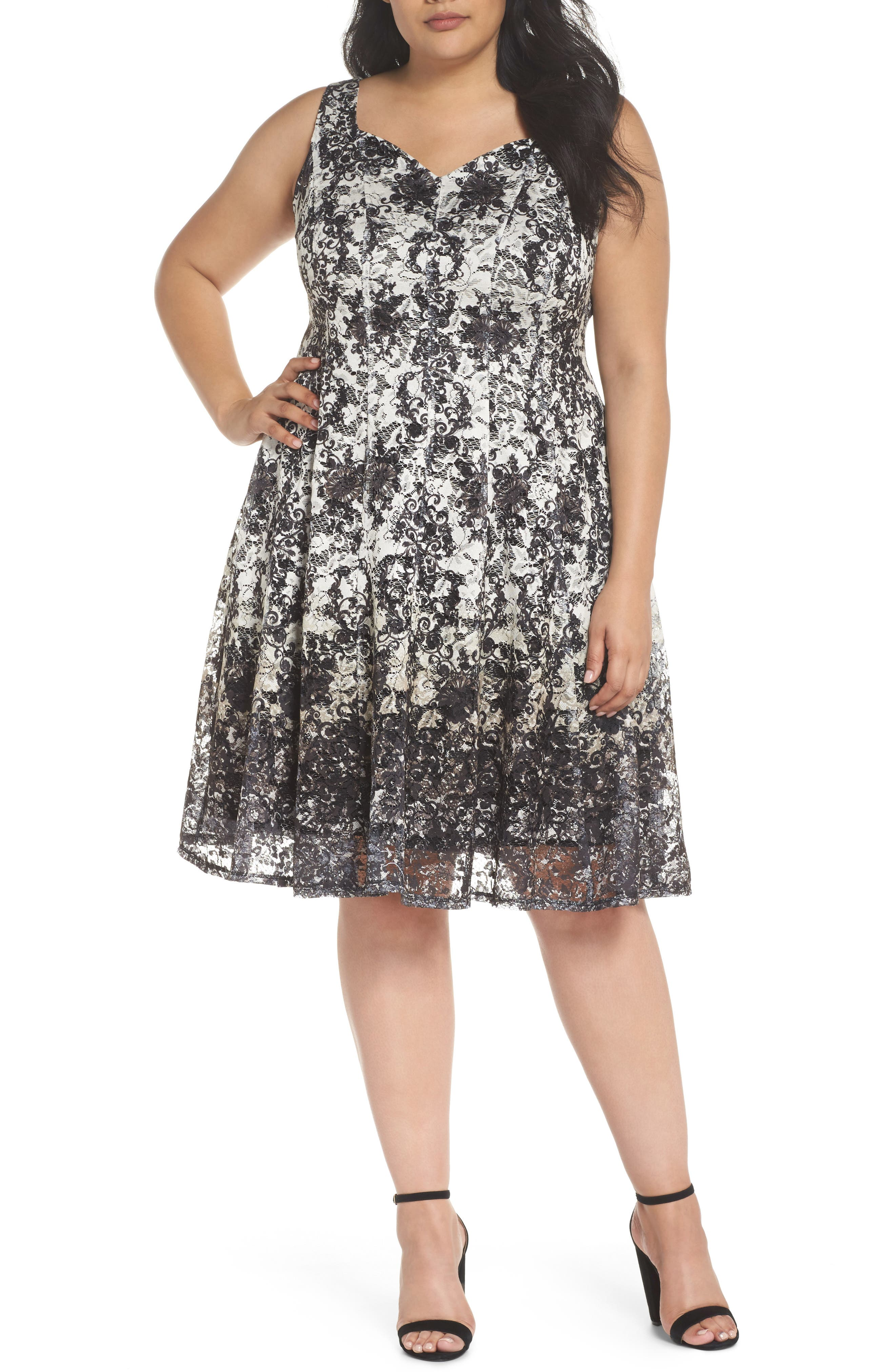 Printed Lace Fit & Flare Dress,                         Main,                         color, Ivory/ Black