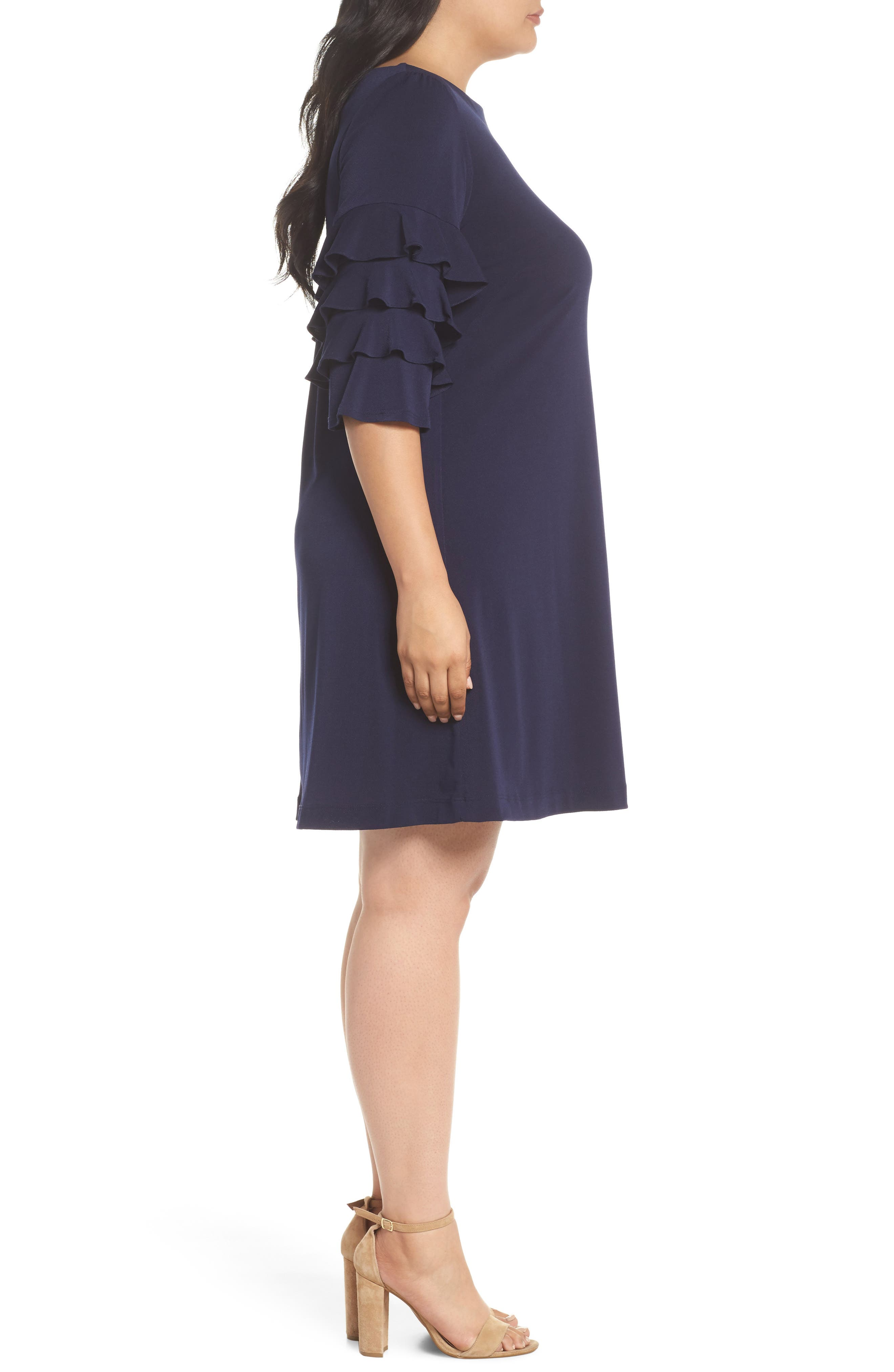 Tiered Ruffle Sleeve Shift Dress,                             Alternate thumbnail 3, color,                             Navy