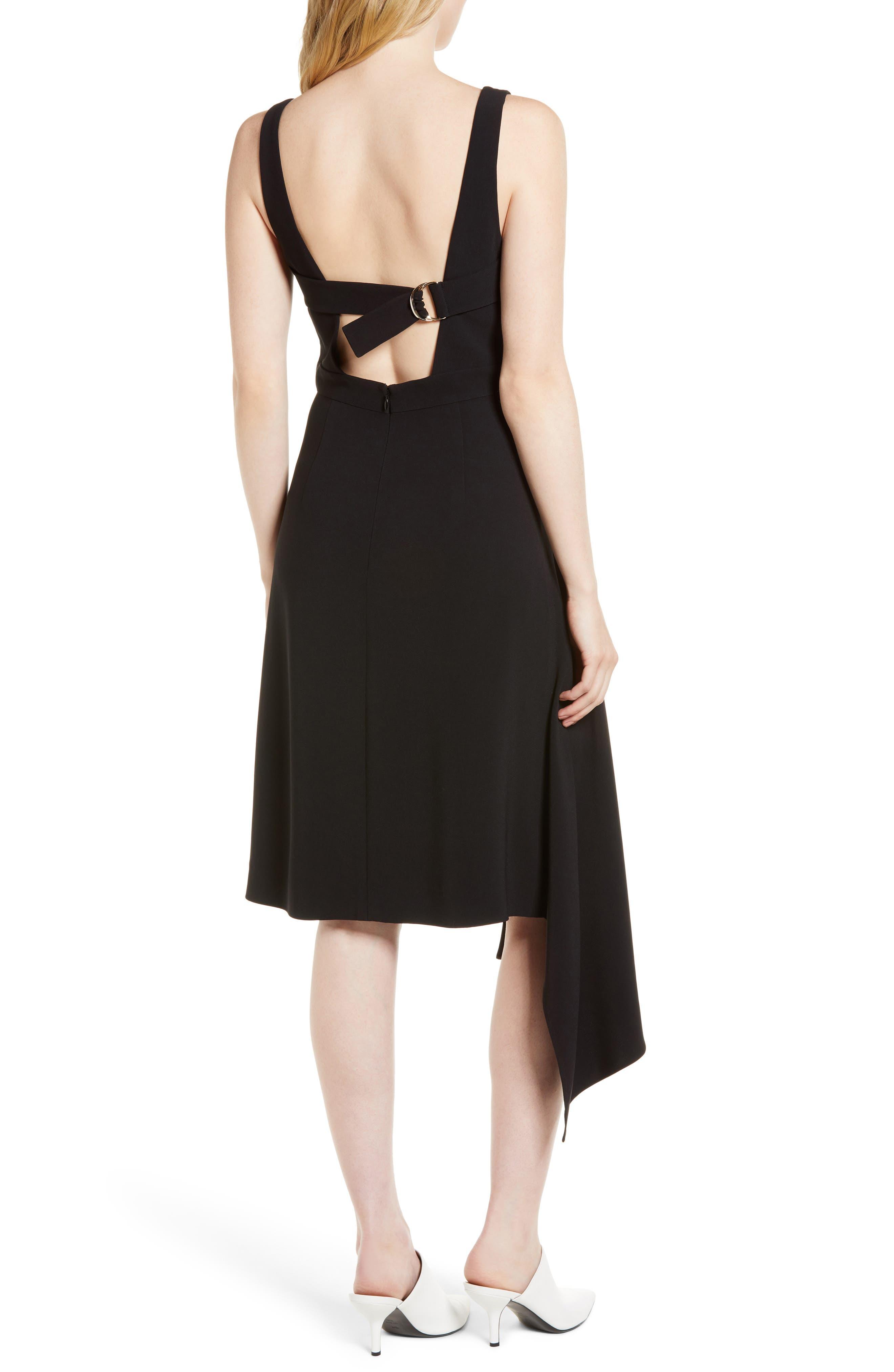 Side Drape Jumper Dress,                             Alternate thumbnail 2, color,                             Black