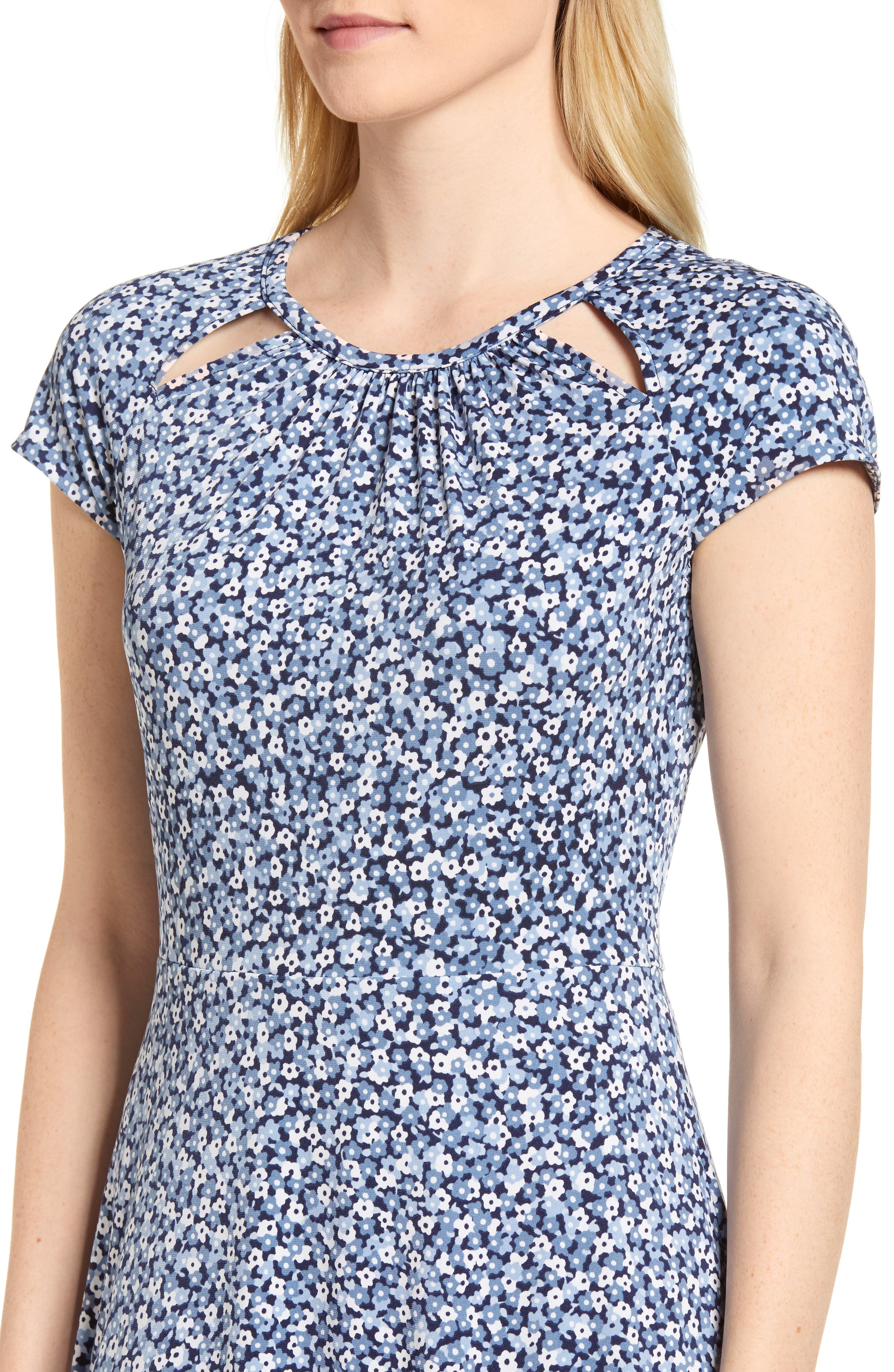 Collage Floral Double Keyhole Dress,                             Alternate thumbnail 4, color,                             True Navy/ Light Chambray