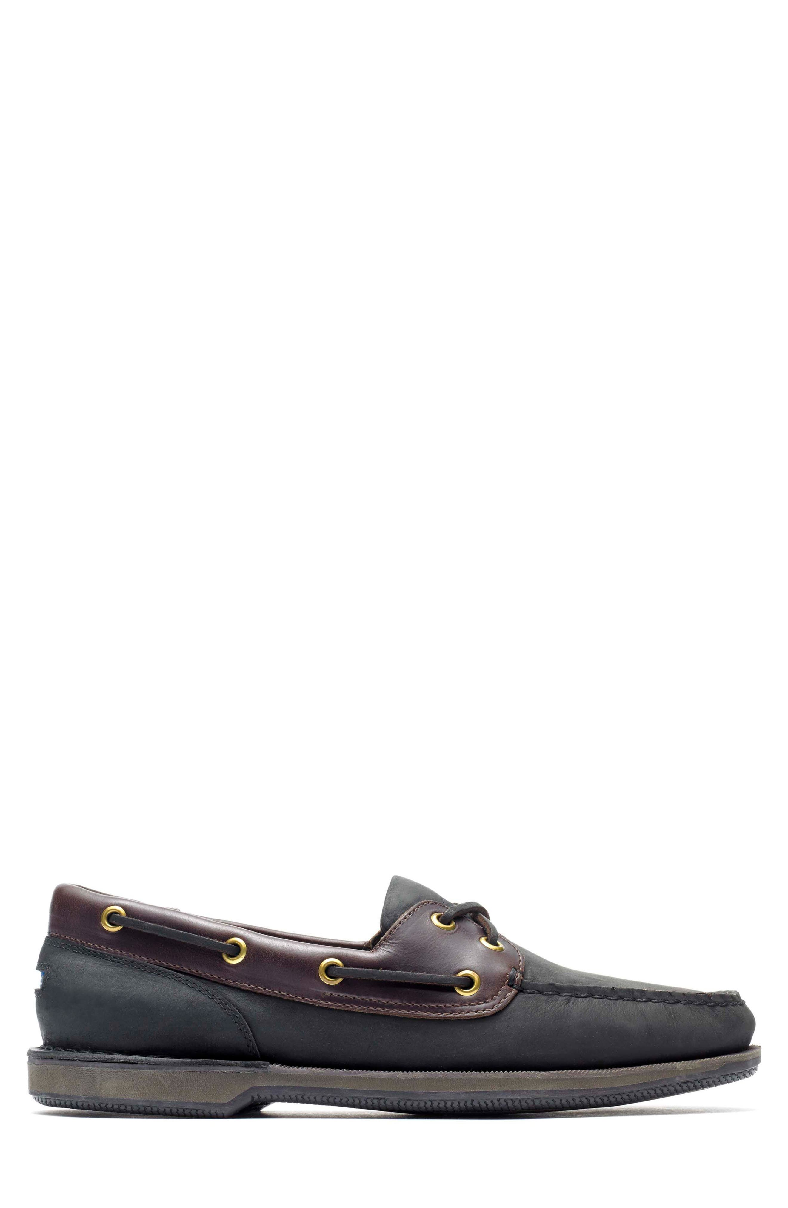 'Perth' Boat Shoe,                             Alternate thumbnail 3, color,                             Black/ Bark Leather
