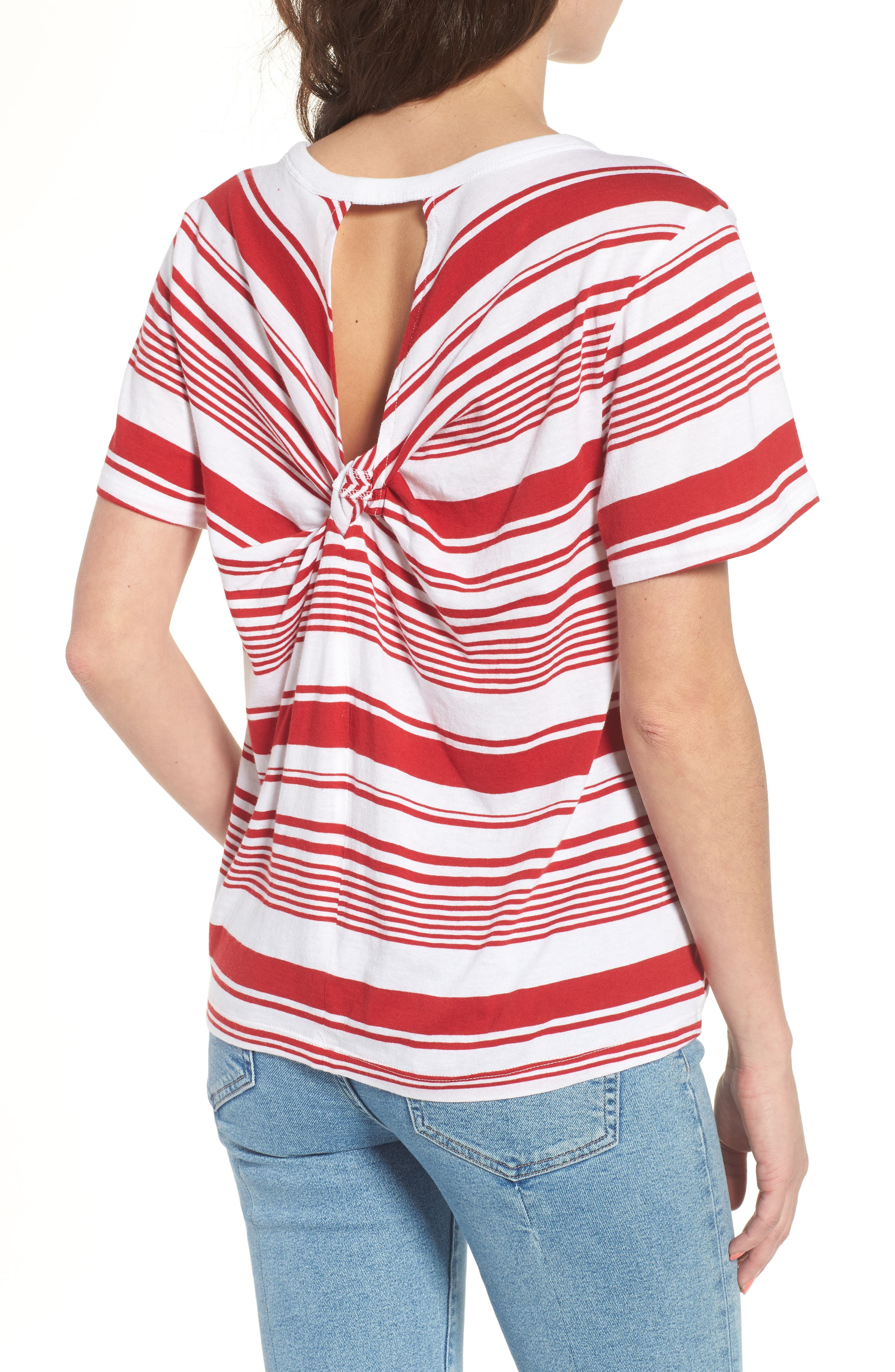 Twist Back Tee,                             Alternate thumbnail 2, color,                             Red Couture Monaco Stripe