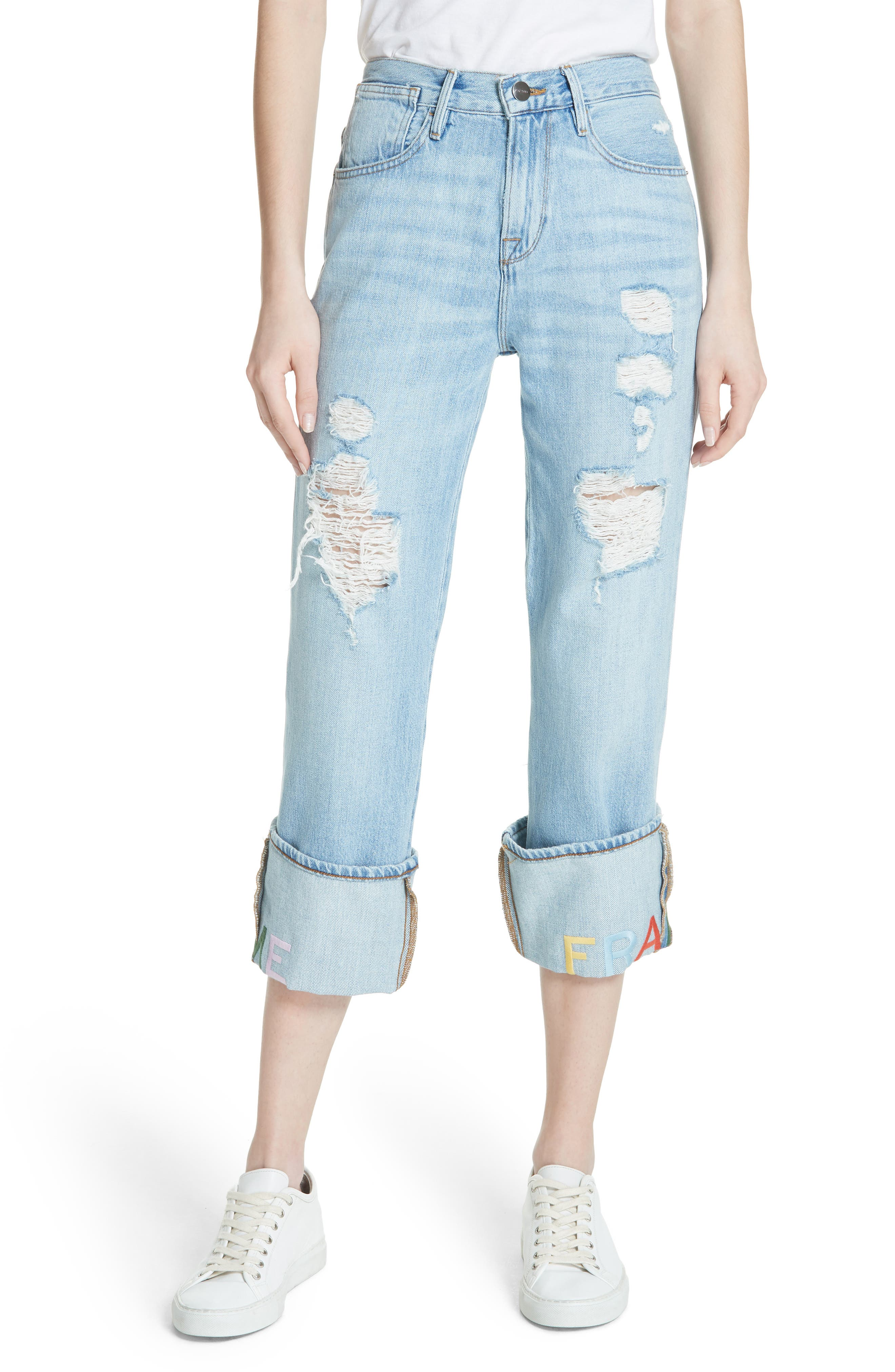Distressed & Embroidered Straight Leg Jeans,                             Main thumbnail 1, color,                             Rydell