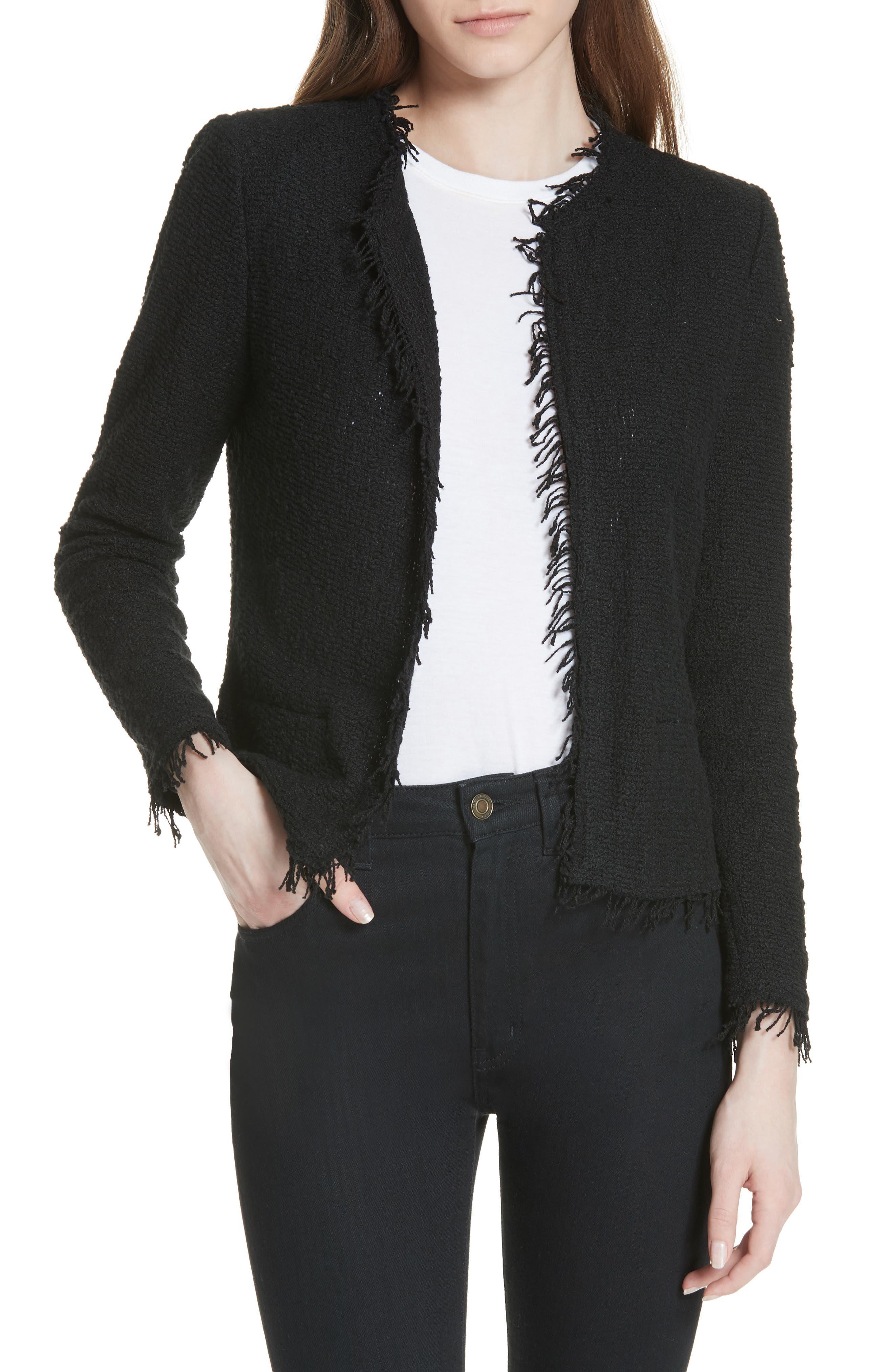 Shavani Tweed Jacket,                         Main,                         color, Black