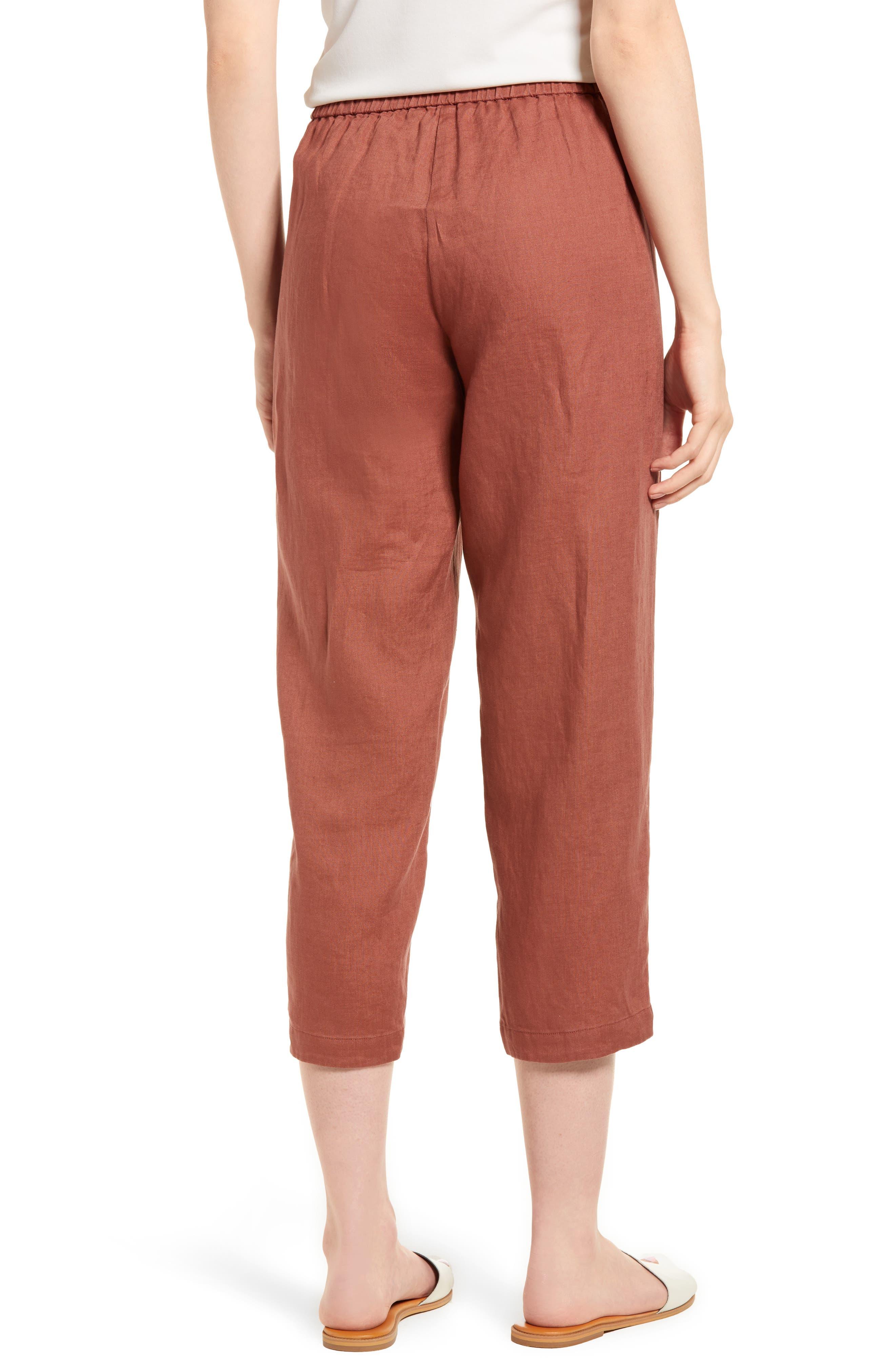 Organic Linen Crop Pants,                             Alternate thumbnail 2, color,                             Russet
