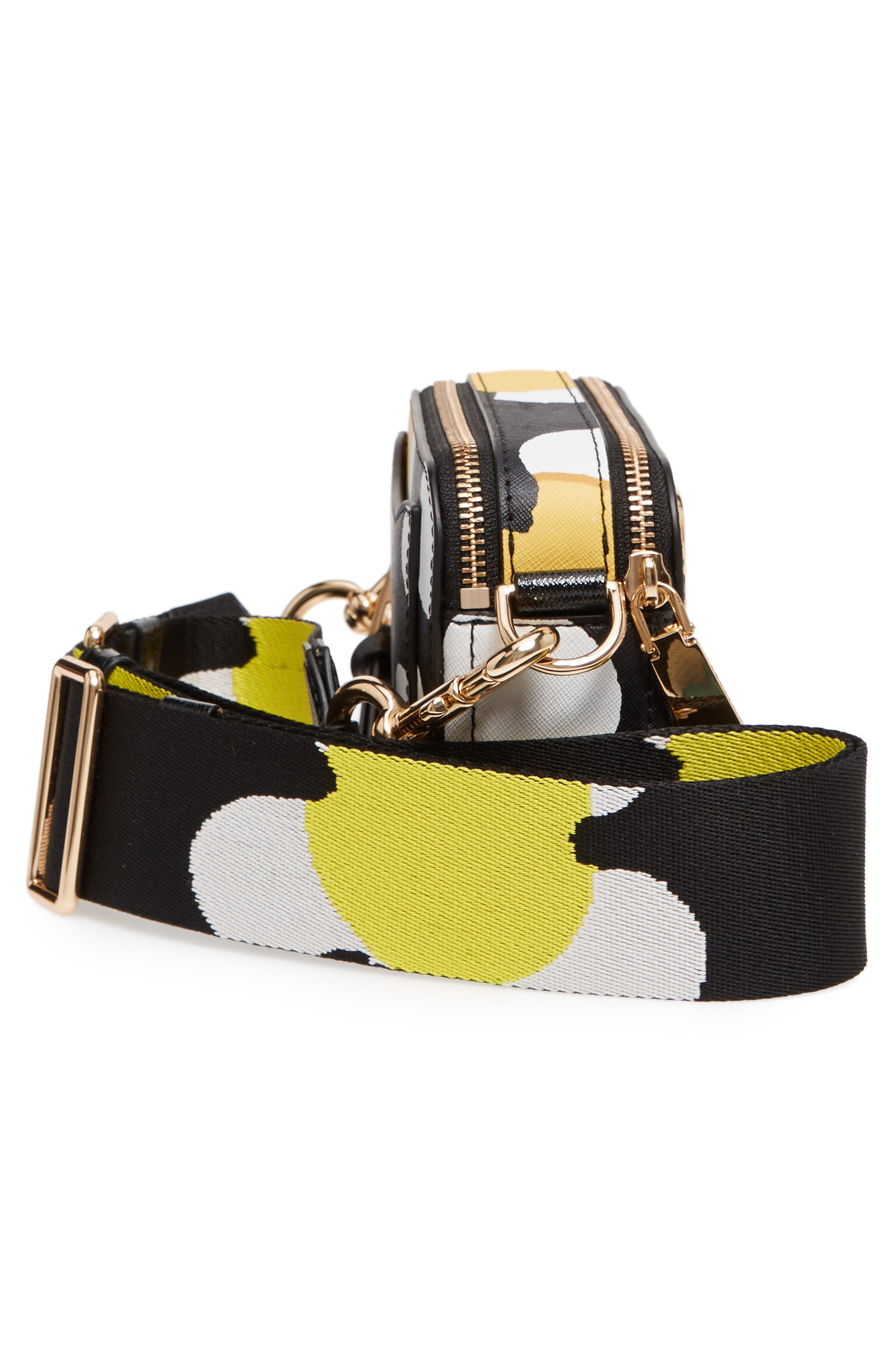 Snapshot Daisy Print Leather Crossbody Bag,                             Alternate thumbnail 5, color,                             Yellow Multi