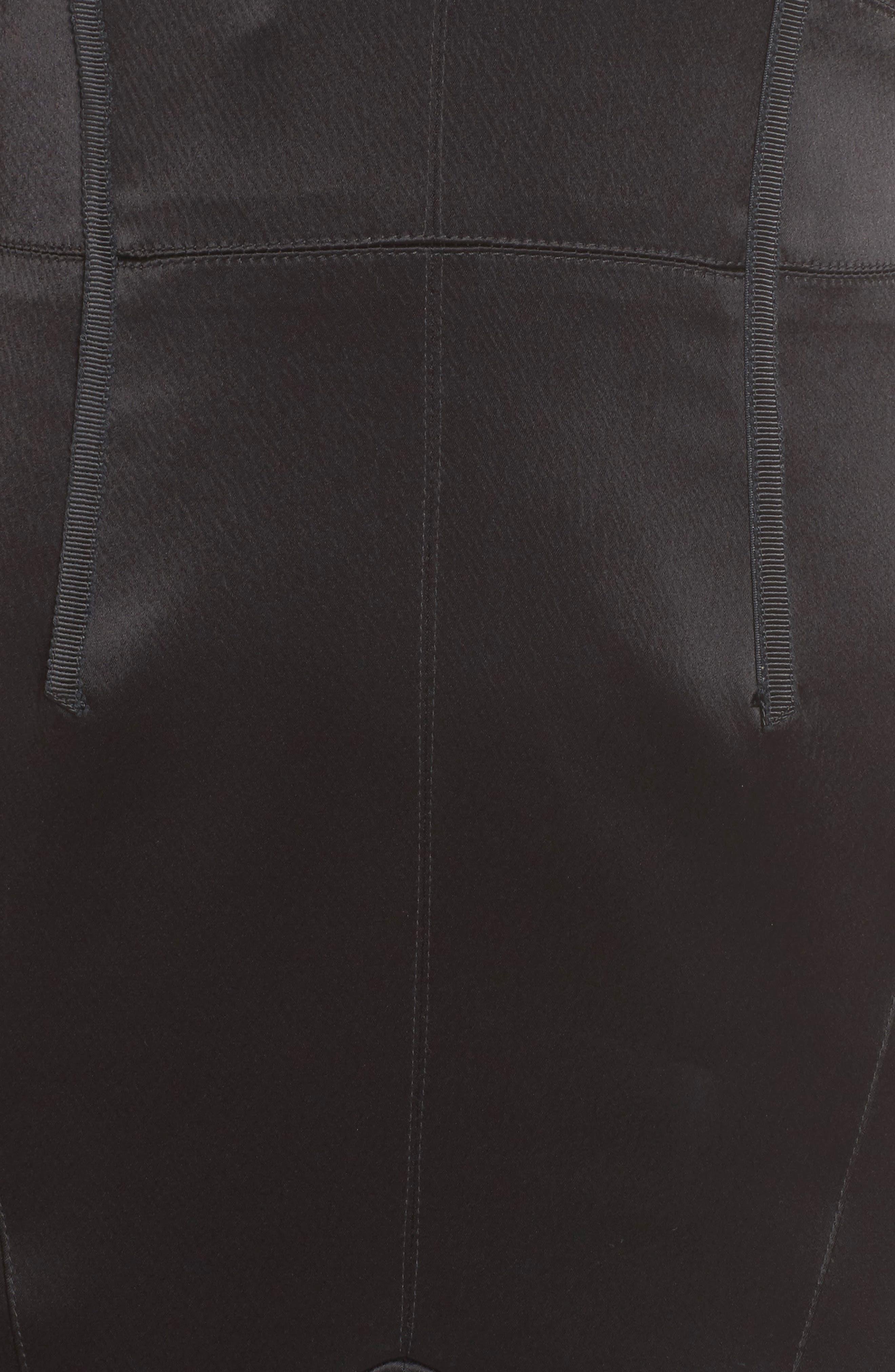 Corset Detail Satin Gown,                             Alternate thumbnail 5, color,                             Black