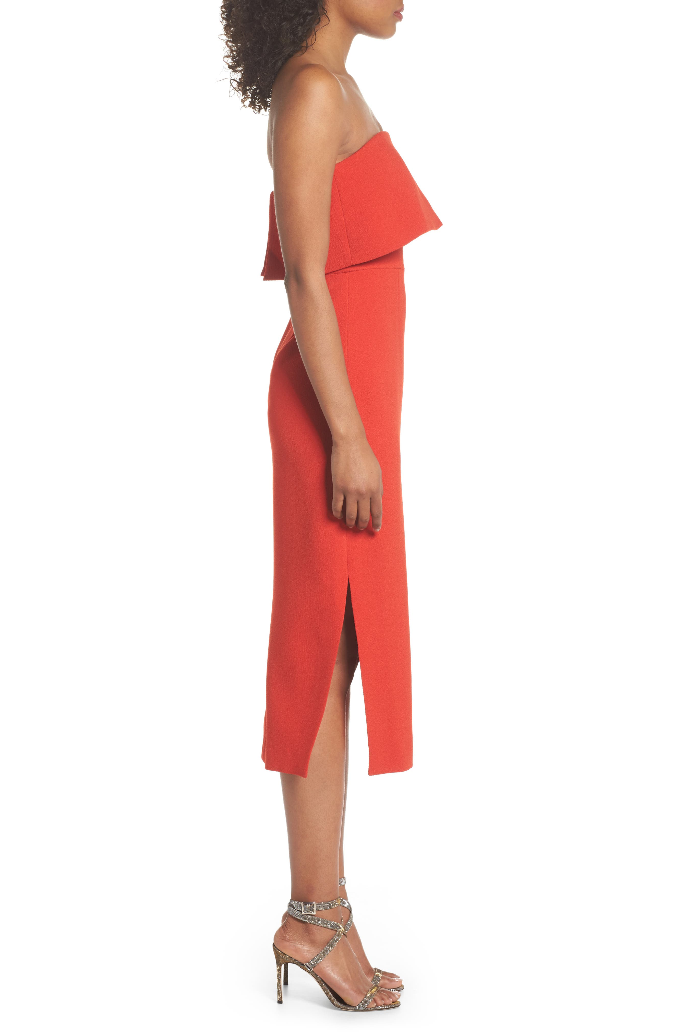 Entice Strapless Midi Dress,                             Alternate thumbnail 3, color,                             Red