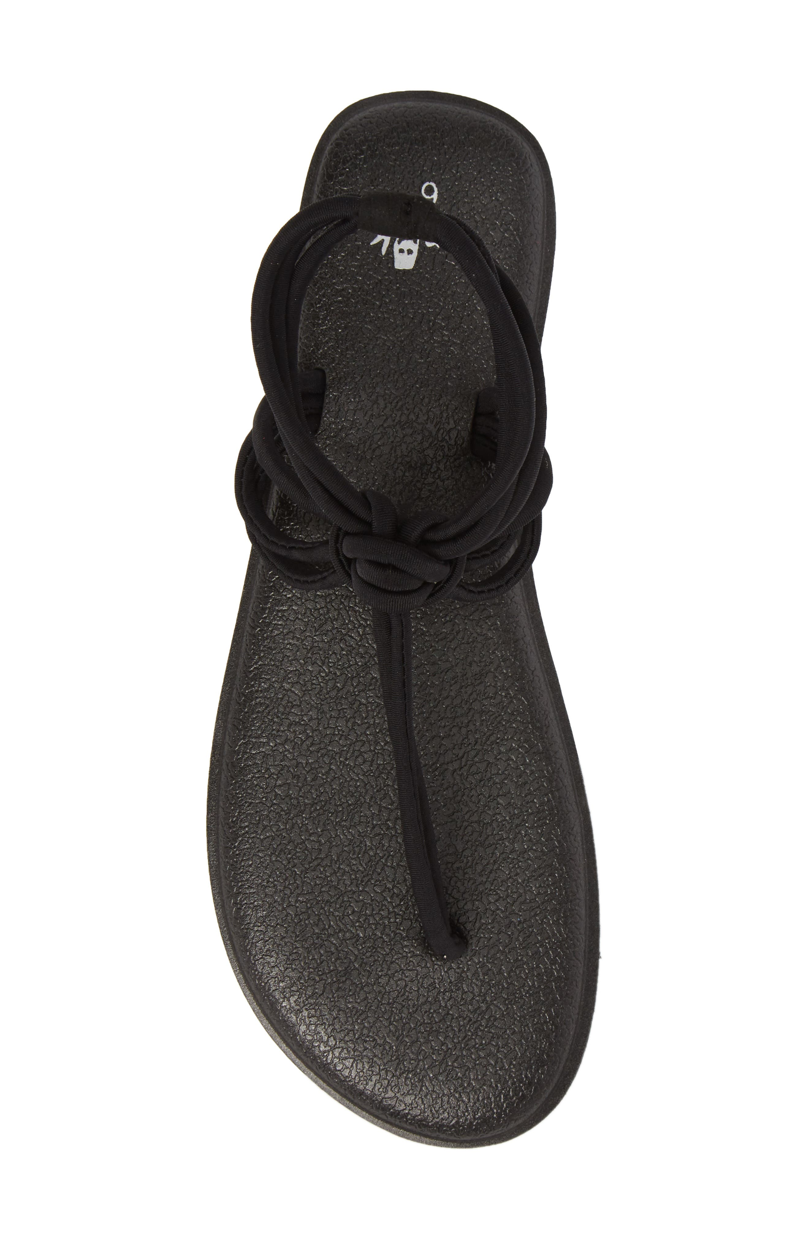 Yoga Sunshine Knotted Thong Sandal,                             Alternate thumbnail 5, color,                             Black