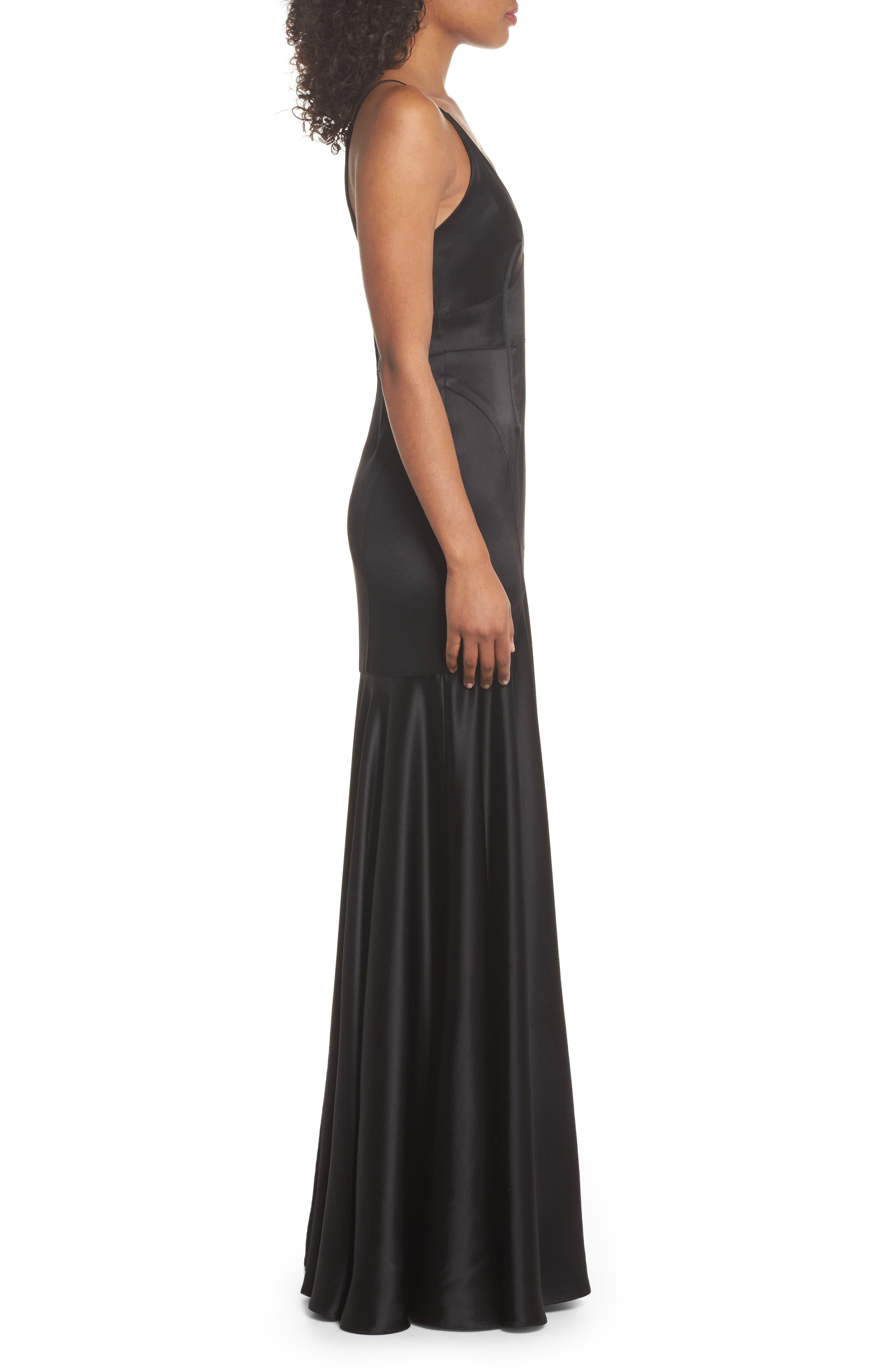 Corset Detail Satin Gown,                             Alternate thumbnail 3, color,                             Black