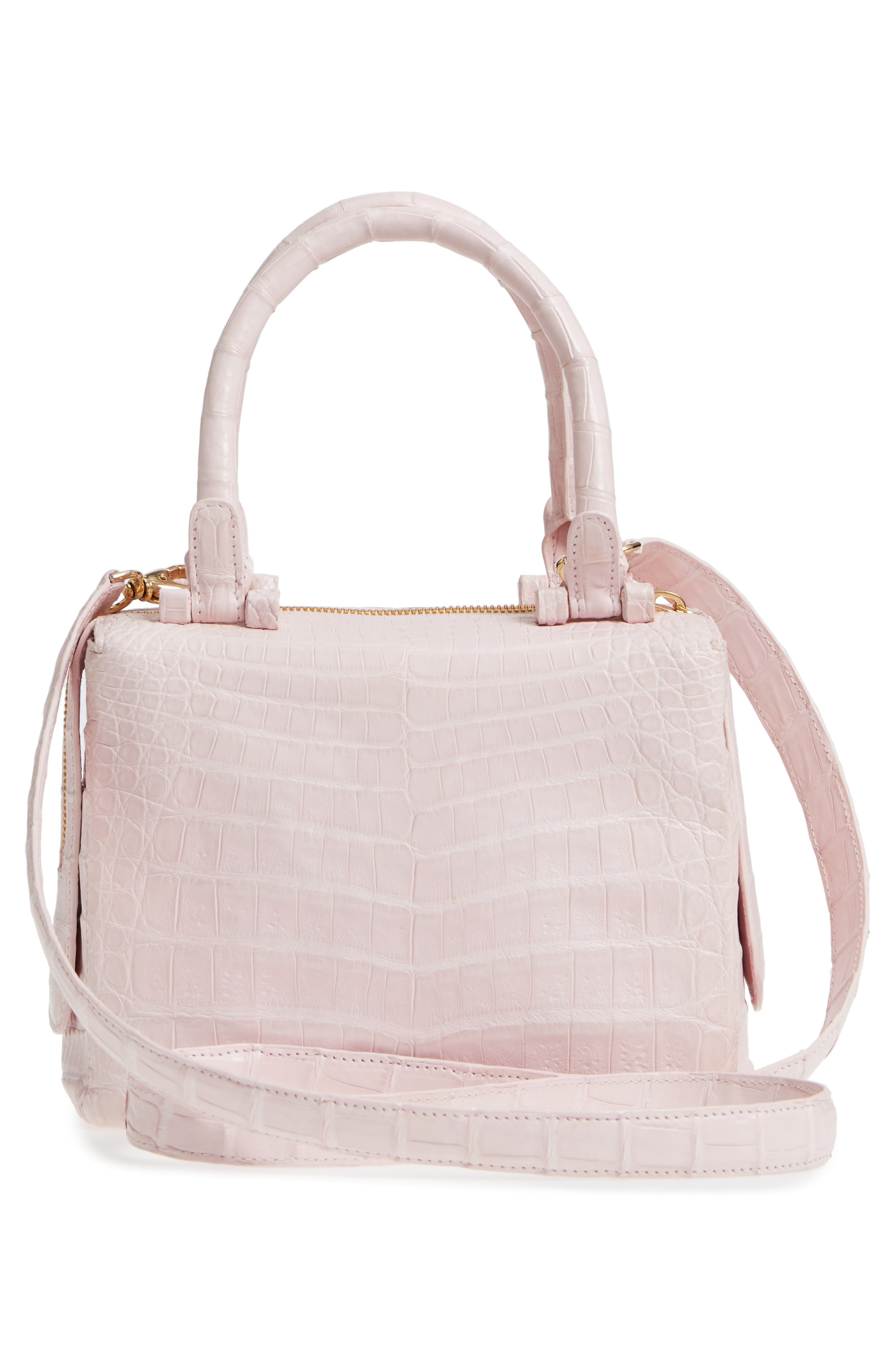 Small Cube Genuine Crocodile Crossbody Bag,                             Alternate thumbnail 3, color,                             Pink