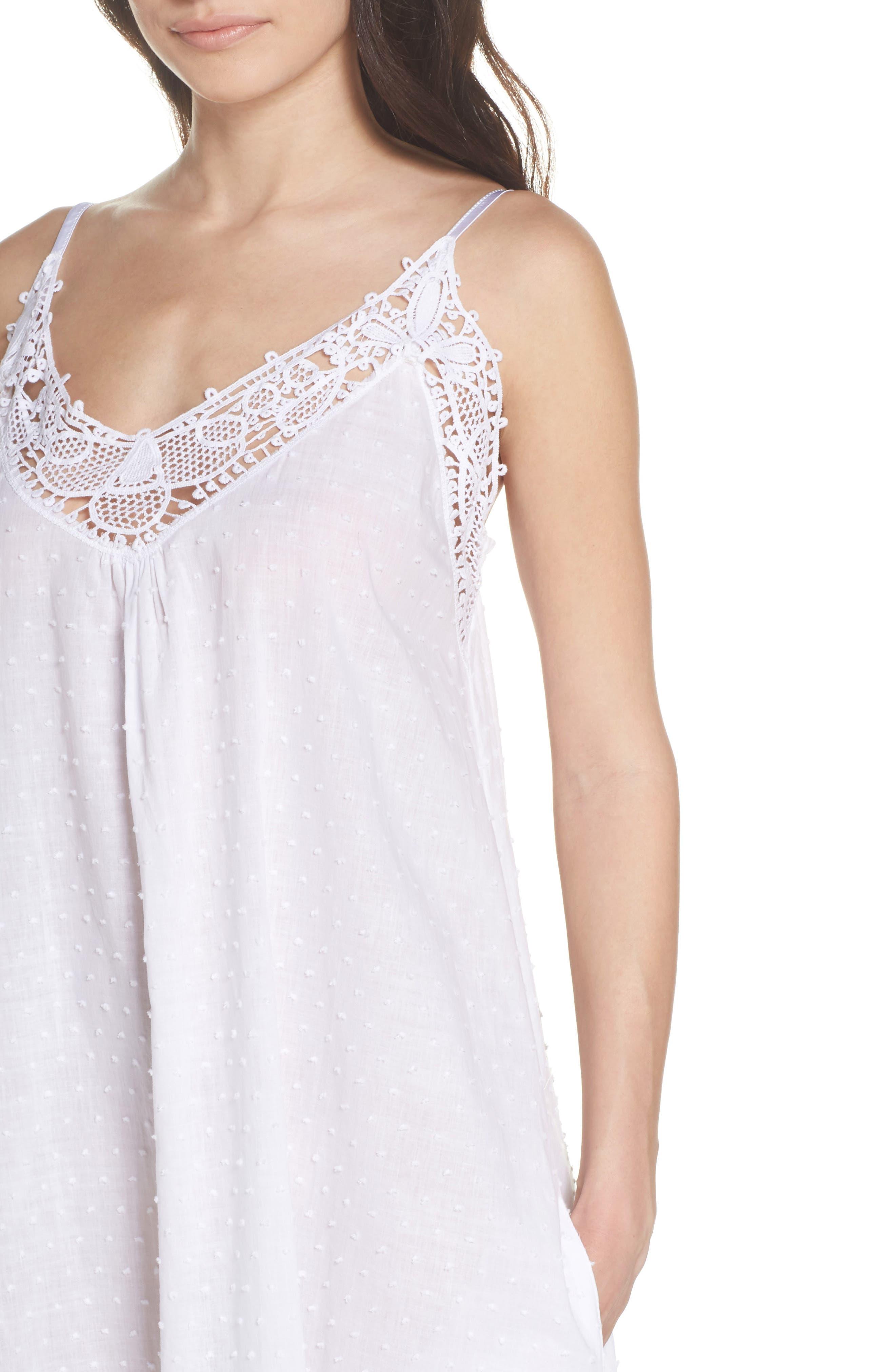 Swiss Dot Nightgown,                             Alternate thumbnail 4, color,                             White