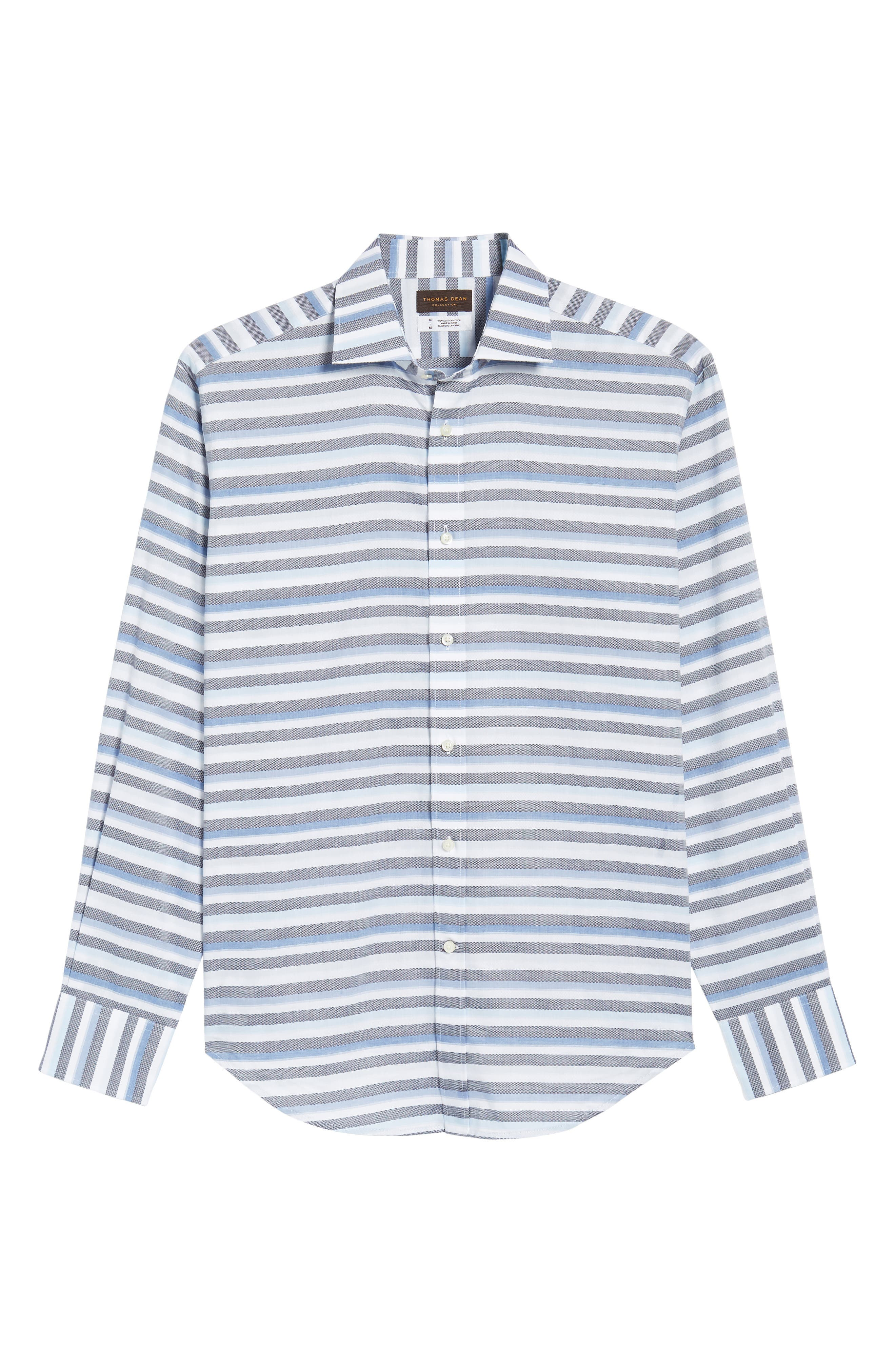 Stripe Sport Shirt,                             Alternate thumbnail 6, color,                             Blue