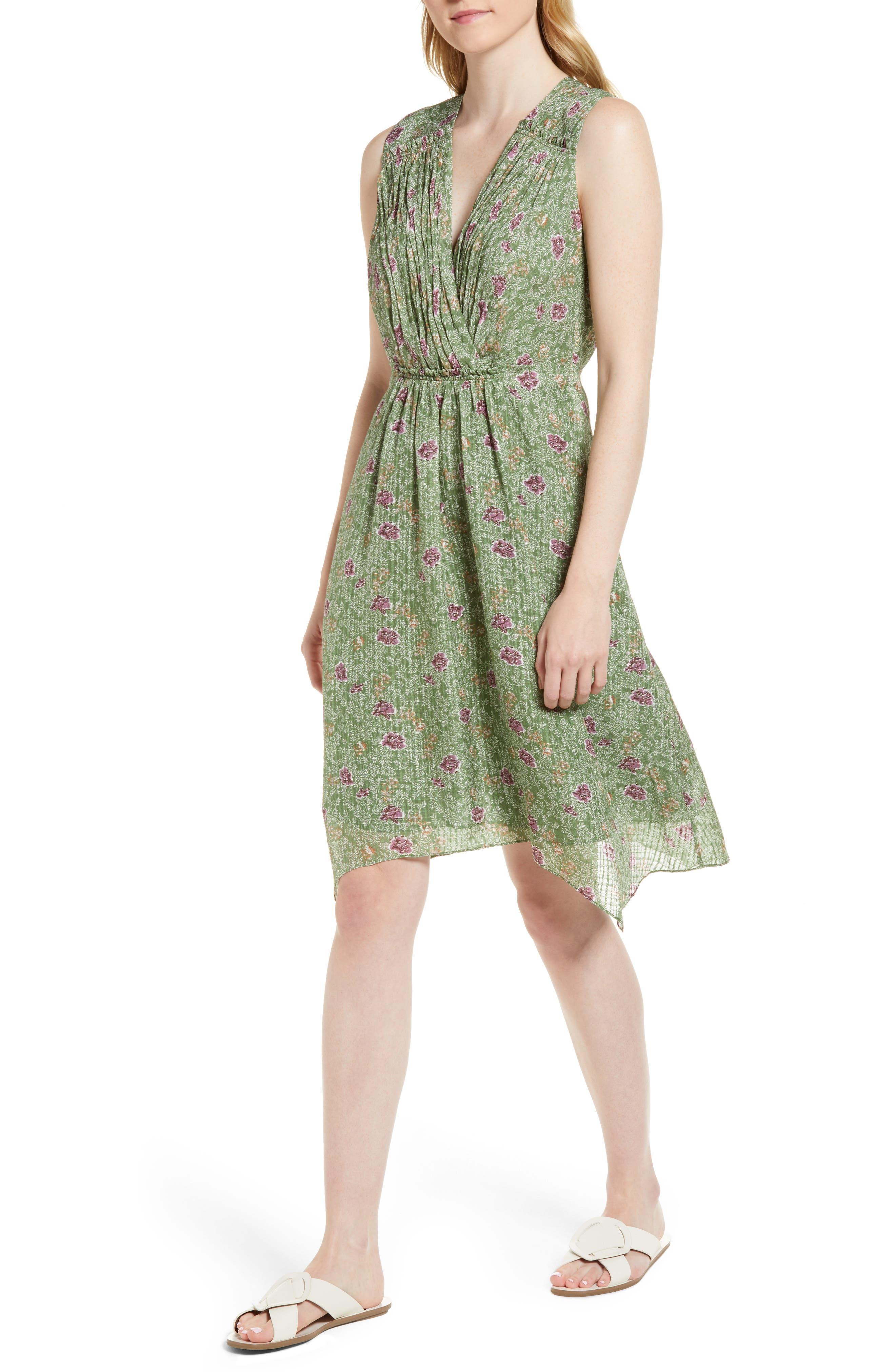 Handkerchief Hem Silk Dress,                             Main thumbnail 1, color,                             Green Vineyard Jakarta Floral