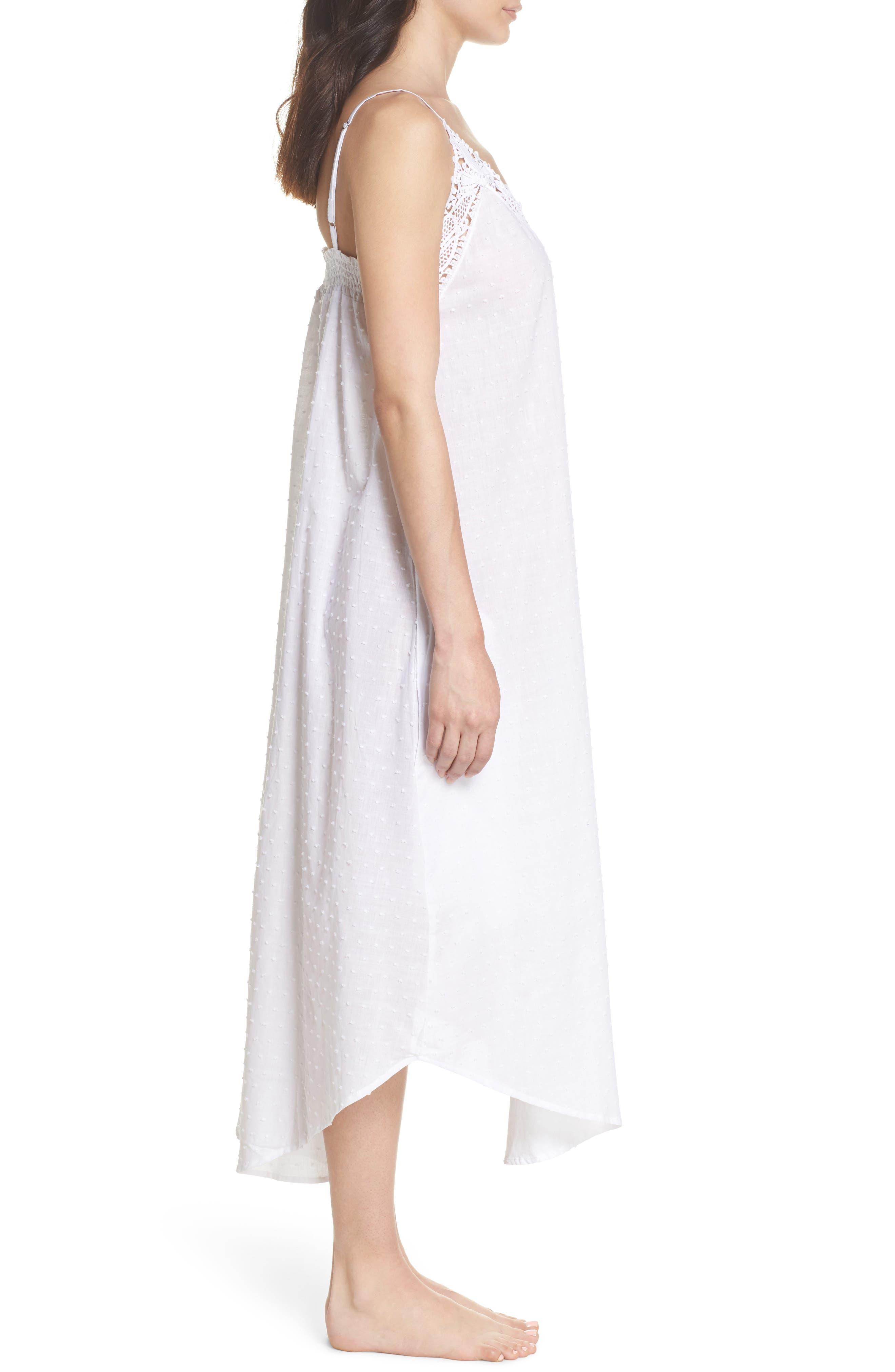 Swiss Dot Nightgown,                             Alternate thumbnail 3, color,                             White
