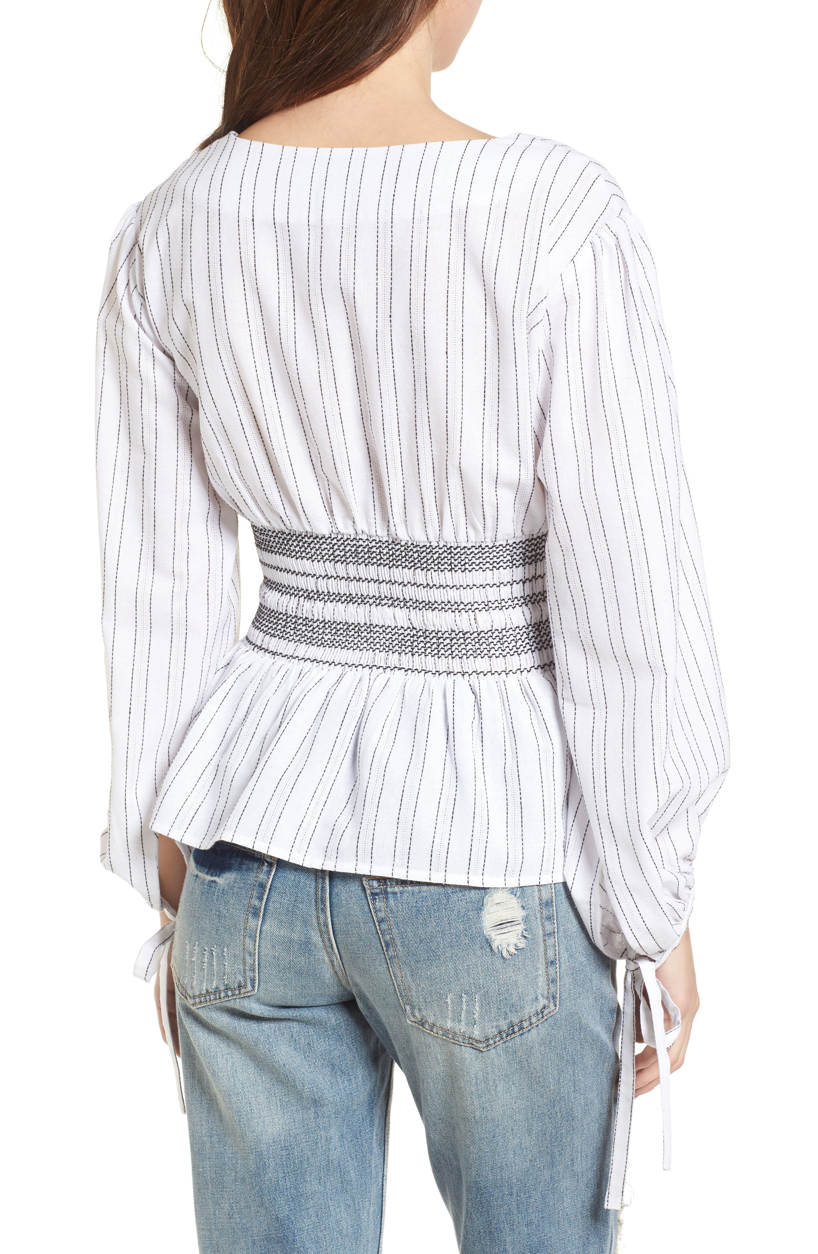 Stripe Peplum Top,                             Alternate thumbnail 3, color,                             Ivory/ Black