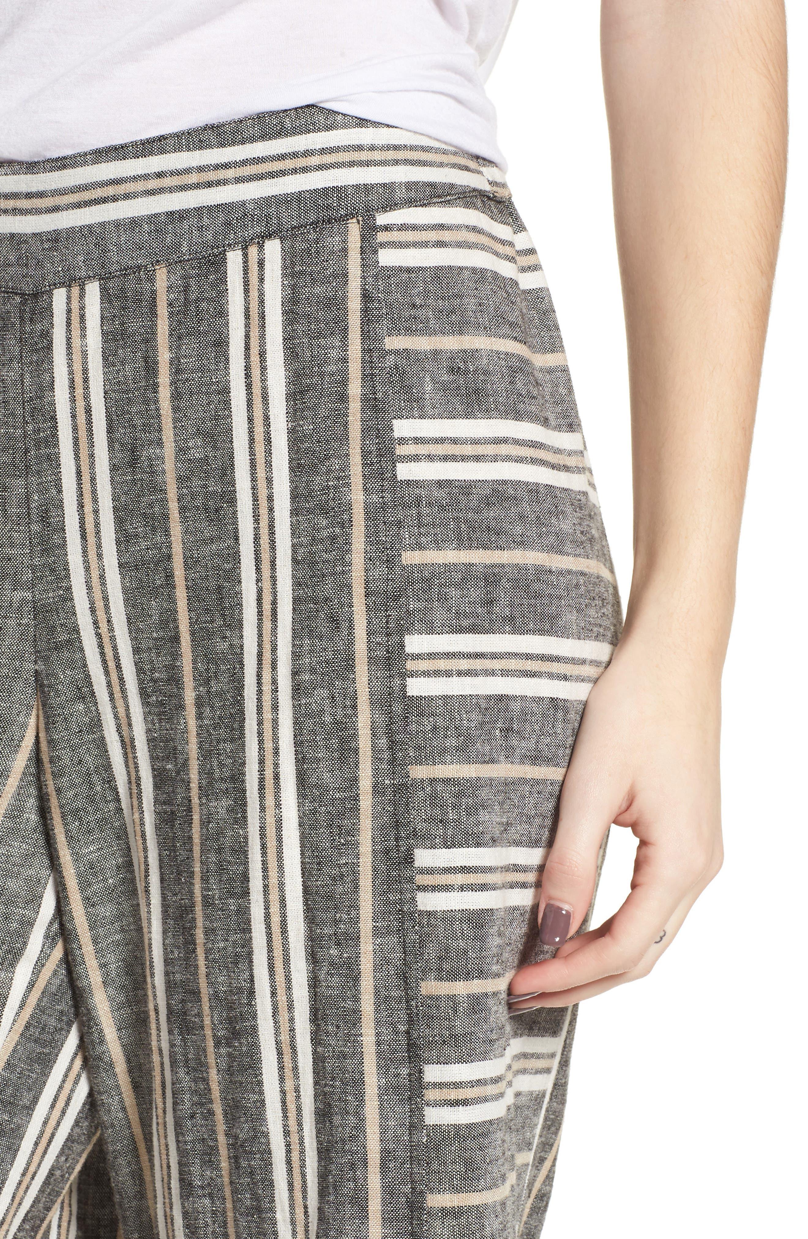 Stripe Linen Blend Pants,                             Alternate thumbnail 4, color,                             Black Betsty Stripe