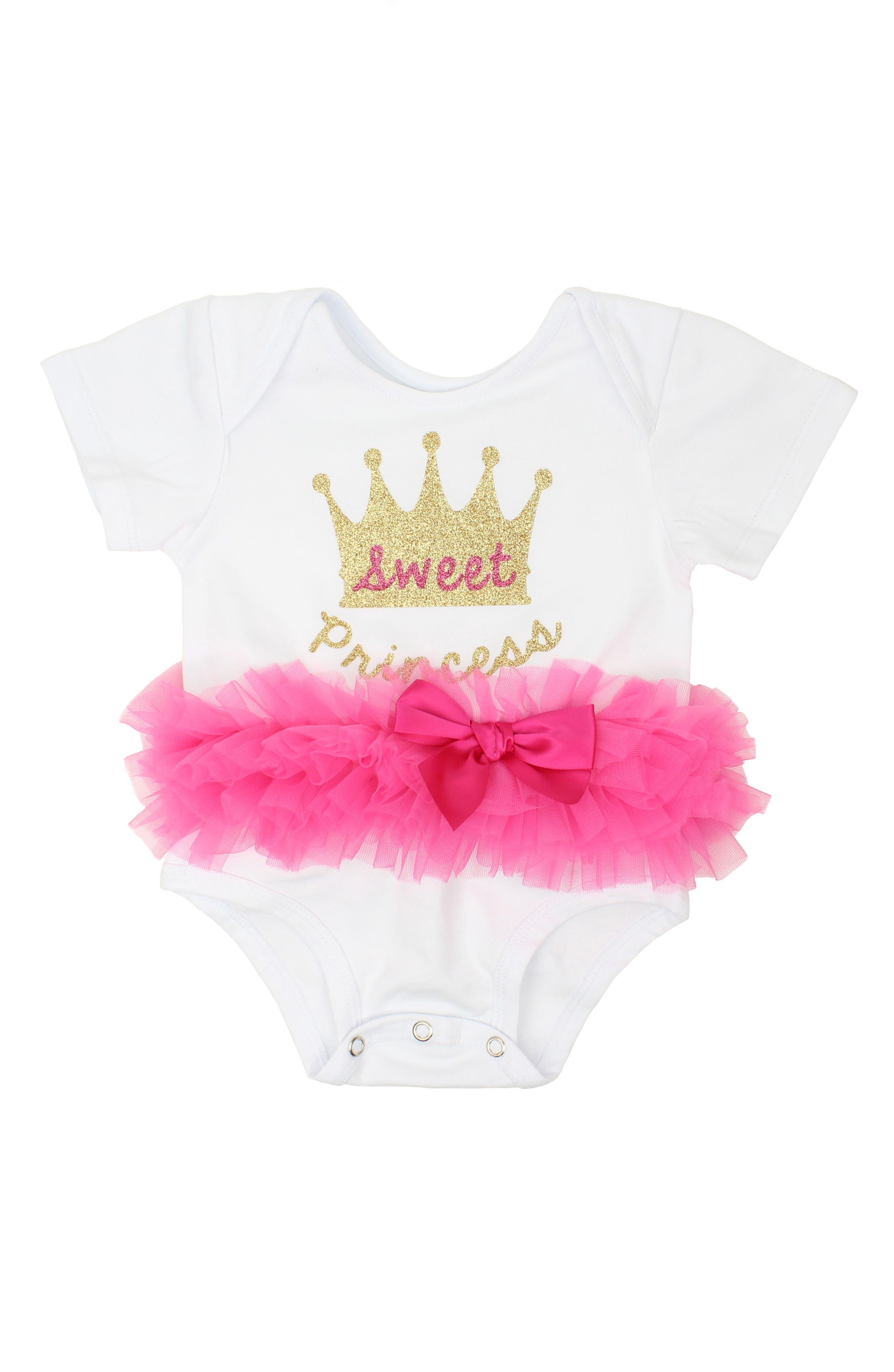 Sweet Princess Tutu Bodysuit,                             Main thumbnail 1, color,                             Hot Pink