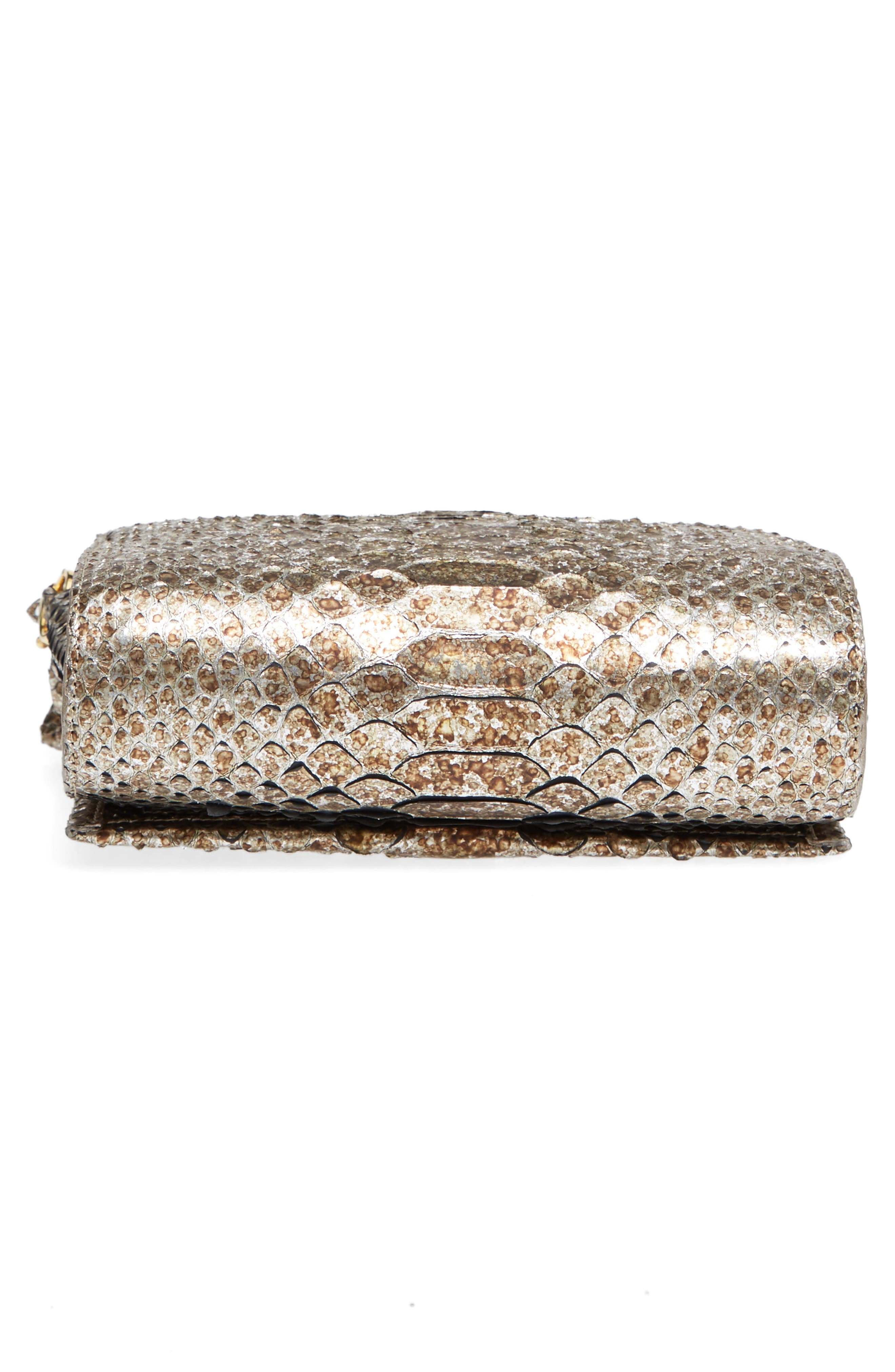 Small Carrie Genuine Crocodile Metallic Clutch,                             Alternate thumbnail 5, color,                             Metallic Gold