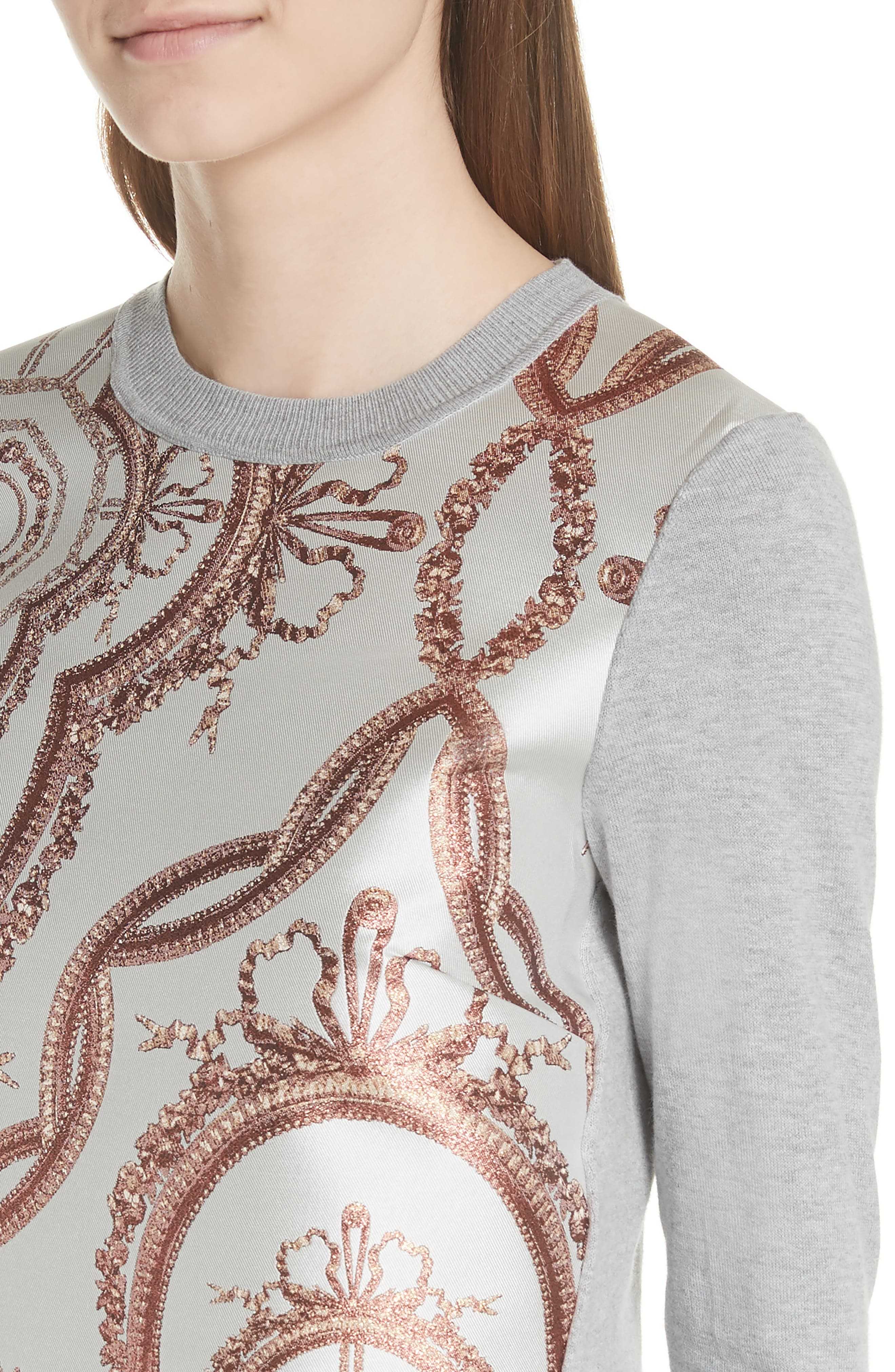Versailles Jacquard Front Sweater,                             Alternate thumbnail 4, color,                             Light Grey