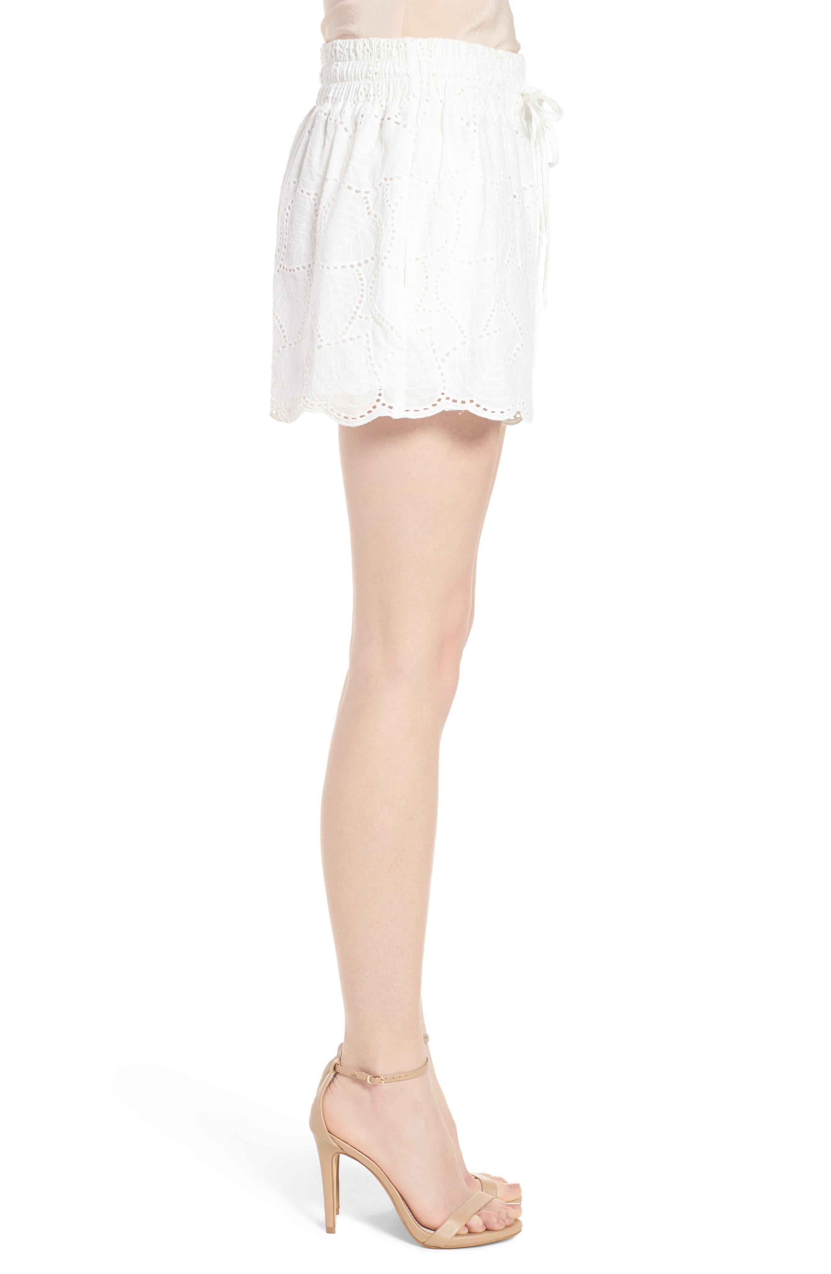 Bishop + Young Eyelet Shorts,                             Alternate thumbnail 3, color,                             White