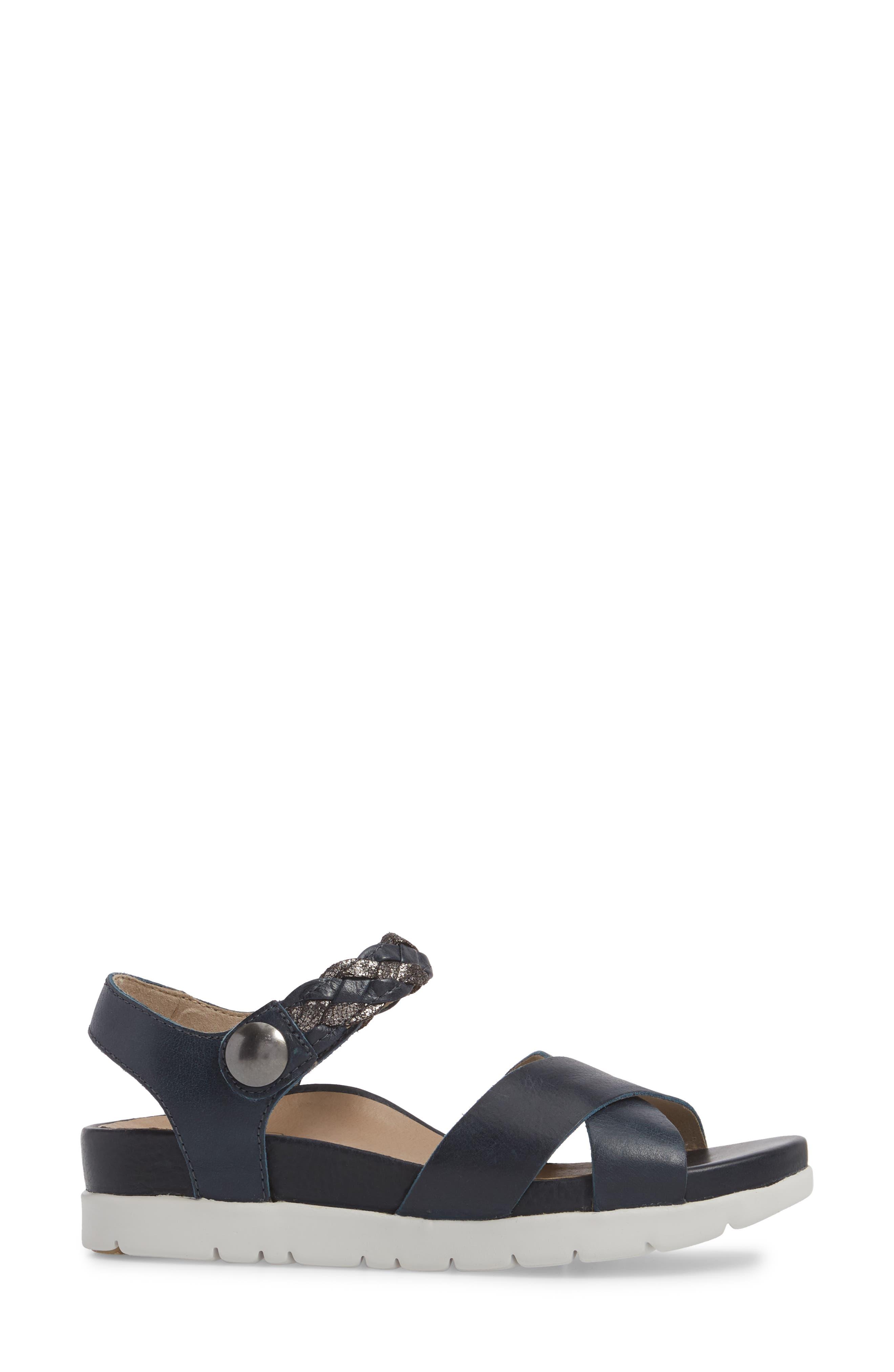 Piper Sandal,                             Alternate thumbnail 3, color,                             Navy Leather