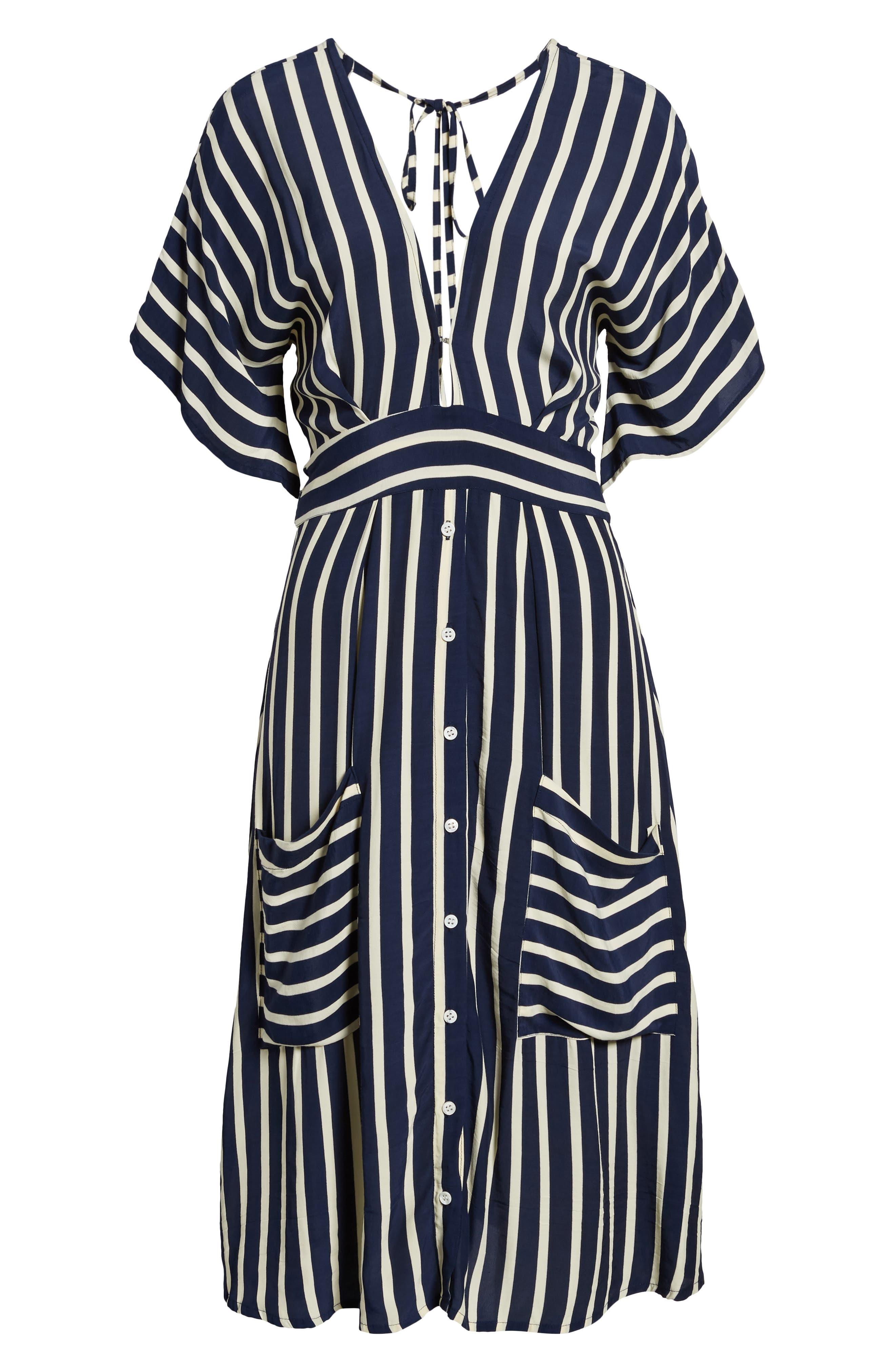 Milan Stripe Midi Dress,                             Alternate thumbnail 6, color,                             Mazur Stripe Print Navy