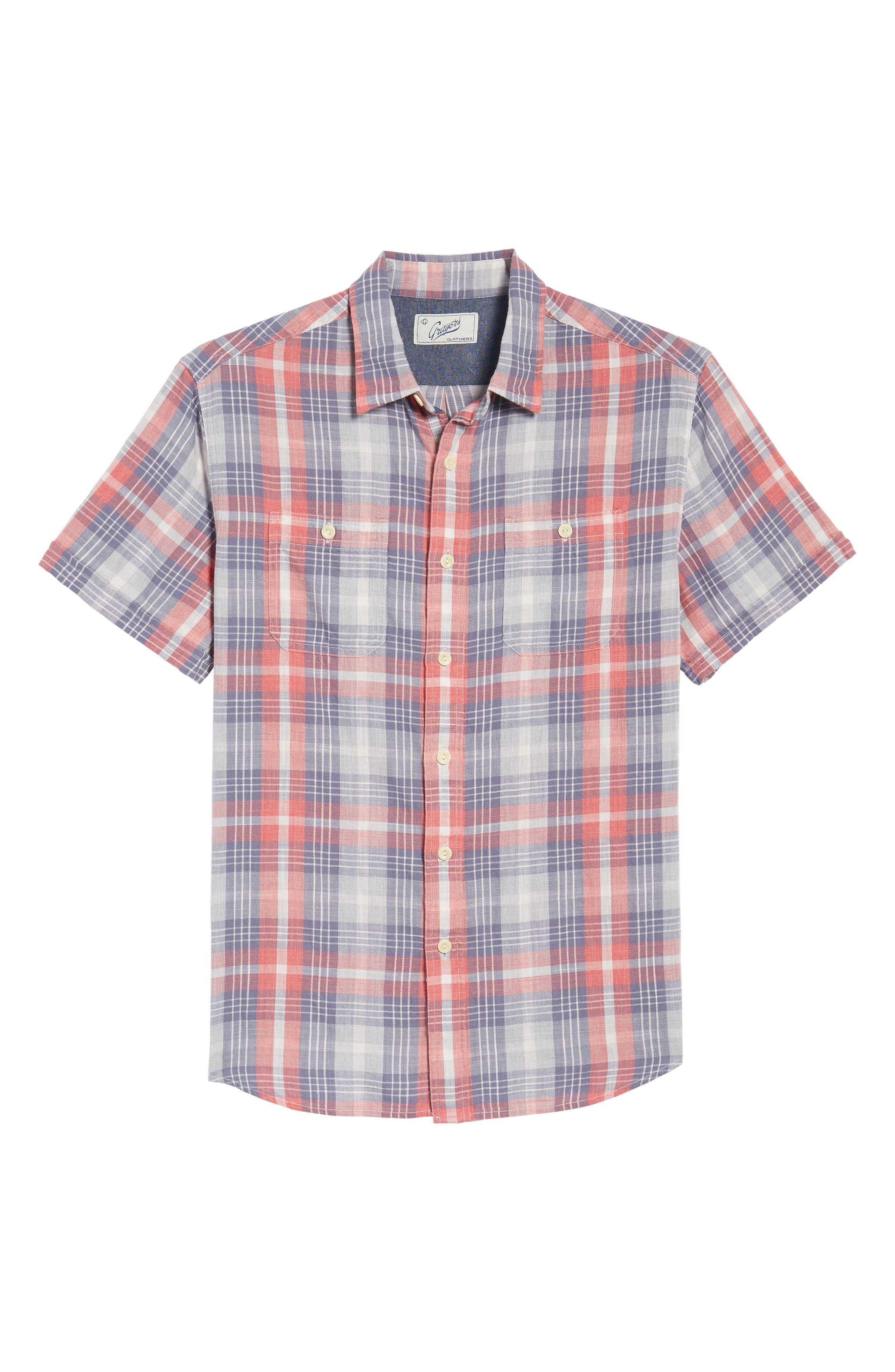 Reynolds Short Sleeve Sport Shirt,                             Alternate thumbnail 6, color,                             Red Gray Plaid