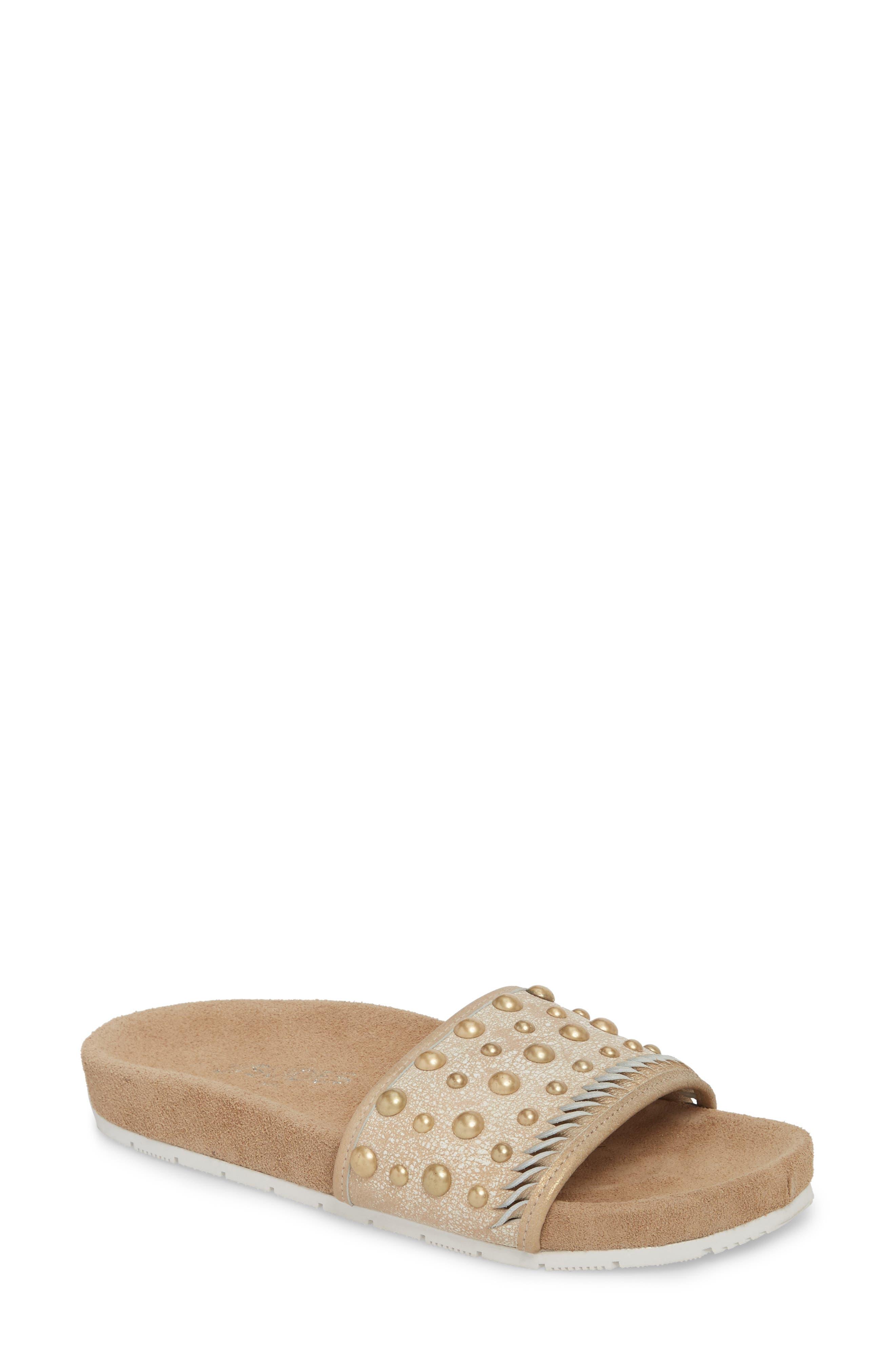 Nora Studded Slide Sandal,                         Main,                         color, Bronze Suede