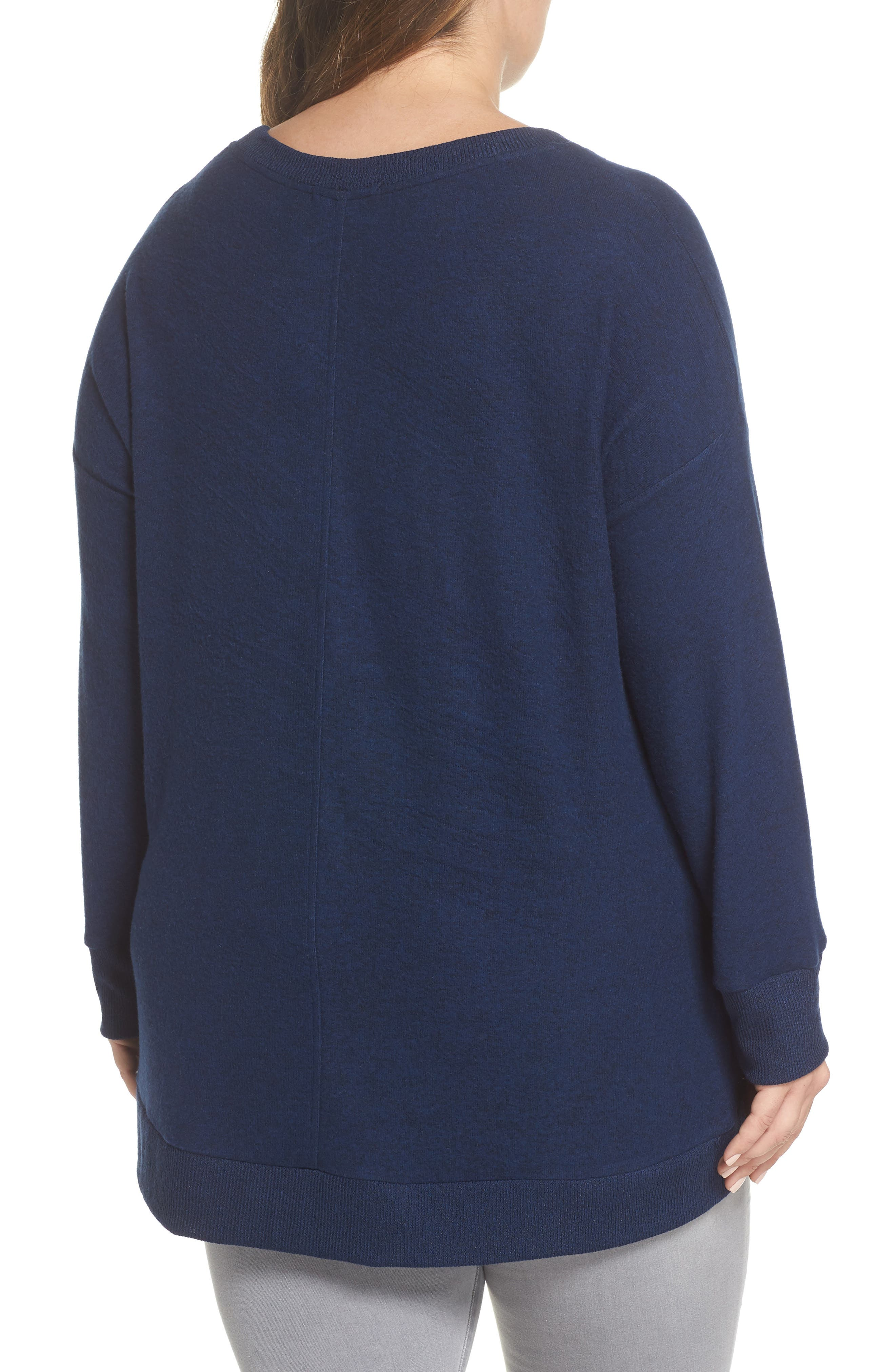 x Living in Yellow Chelsea Shirttail Sweater,                             Alternate thumbnail 3, color,                             Navy