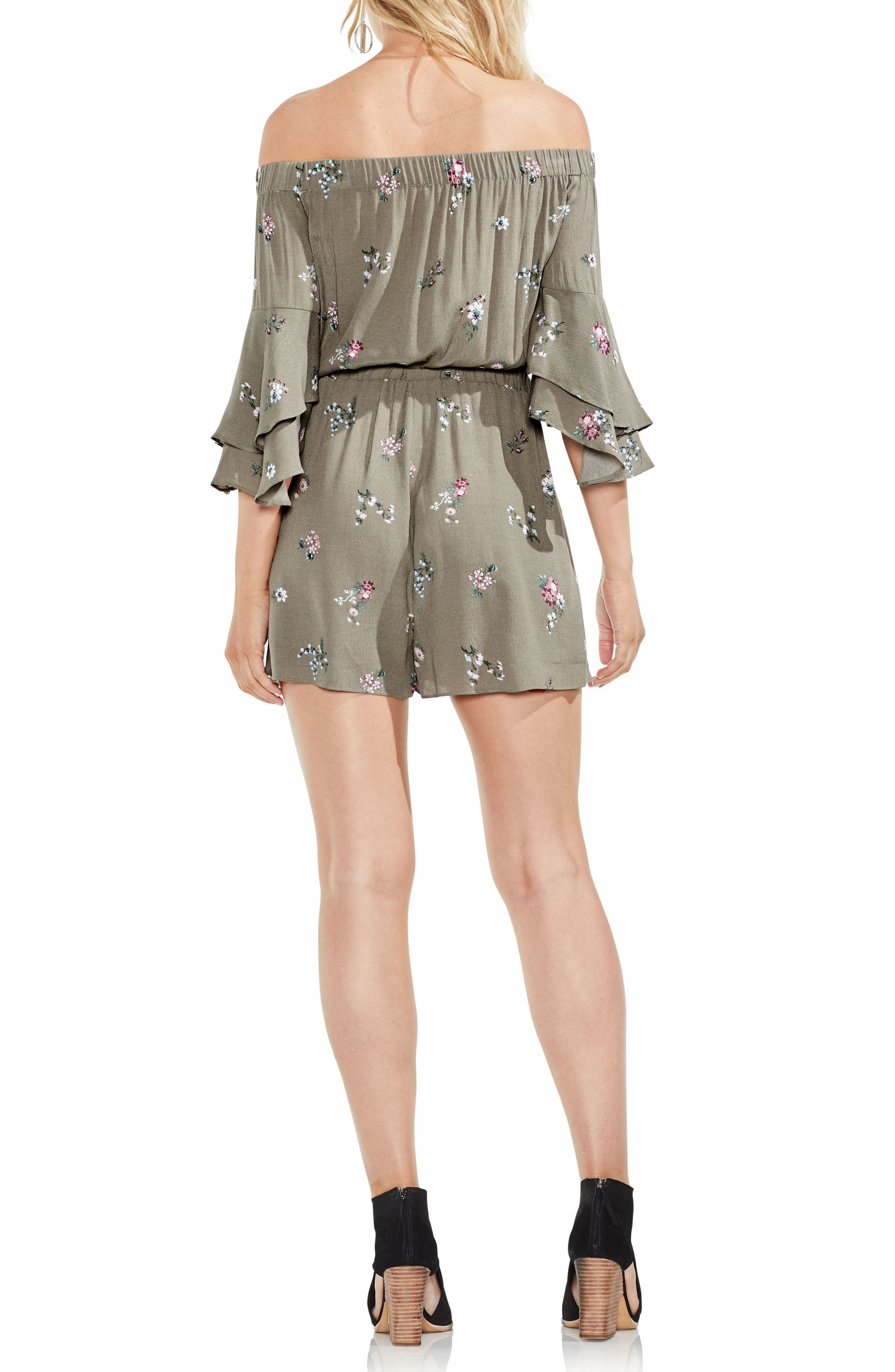Off the Shoulder Ruffle Sleeve Floral Romper,                             Alternate thumbnail 4, color,                             Camo Green
